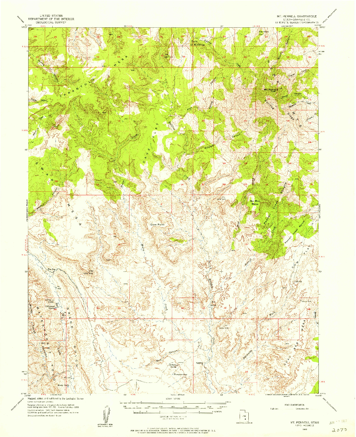 USGS 1:62500-SCALE QUADRANGLE FOR MT PENNELL, UT 1953