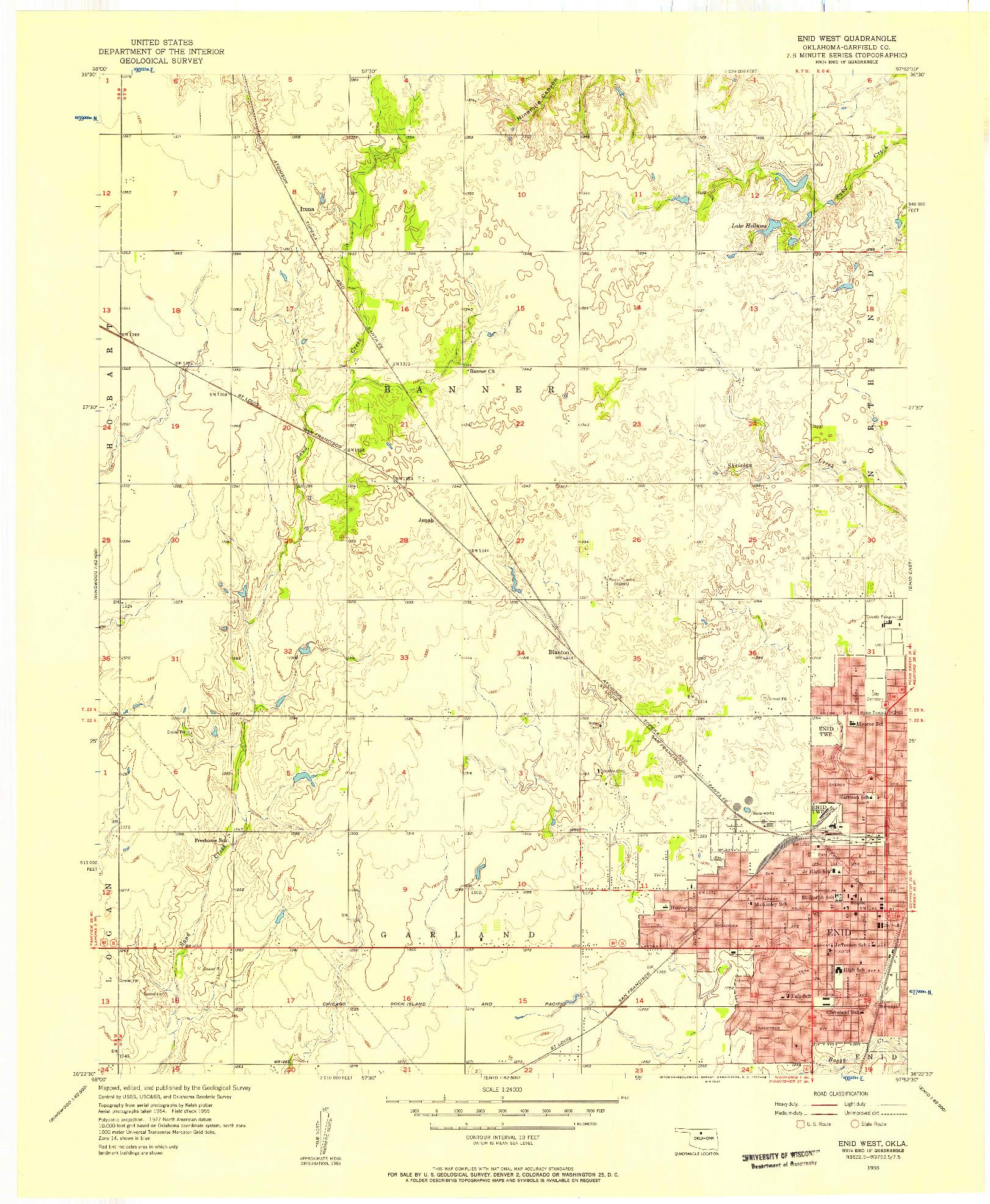 USGS 1:24000-SCALE QUADRANGLE FOR ENID WEST, OK 1955