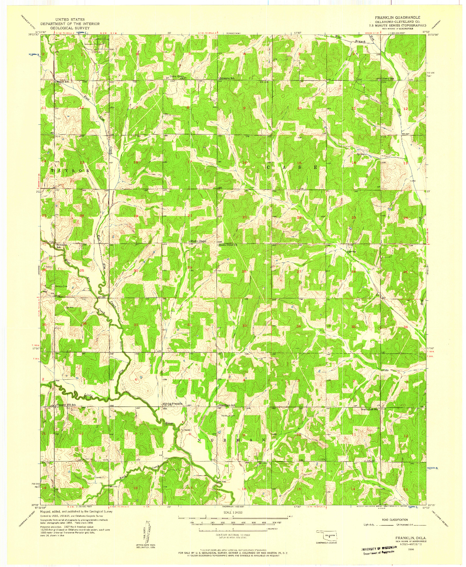 USGS 1:24000-SCALE QUADRANGLE FOR FRANKLIN, OK 1956
