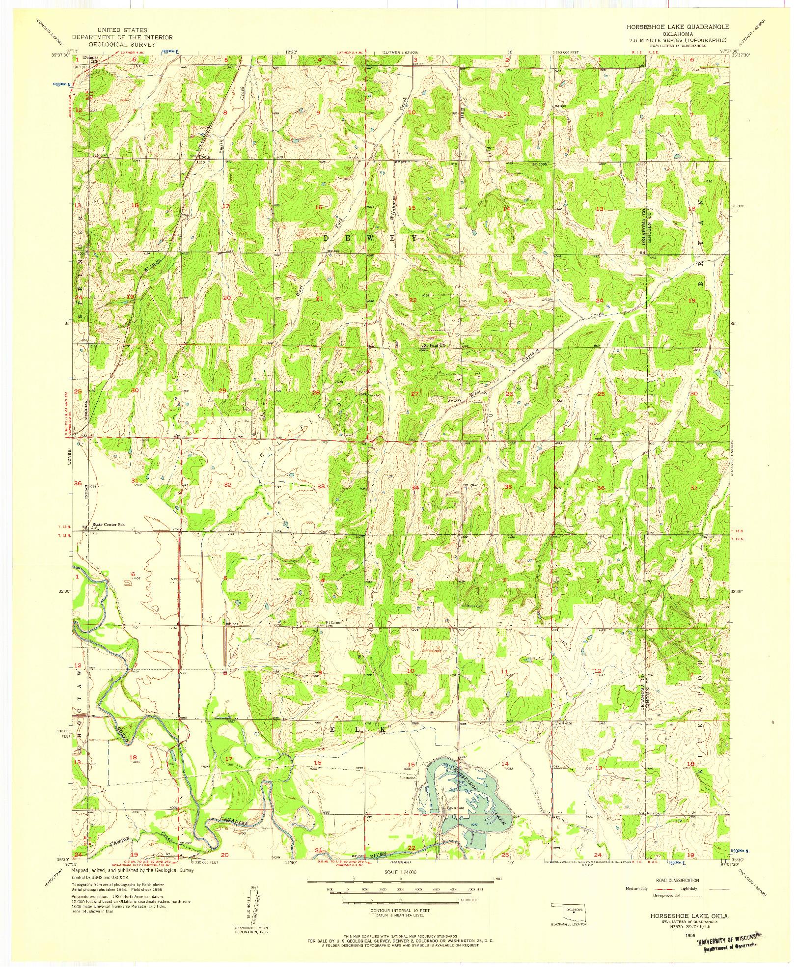 USGS 1:24000-SCALE QUADRANGLE FOR HORSESHOE LAKE, OK 1956