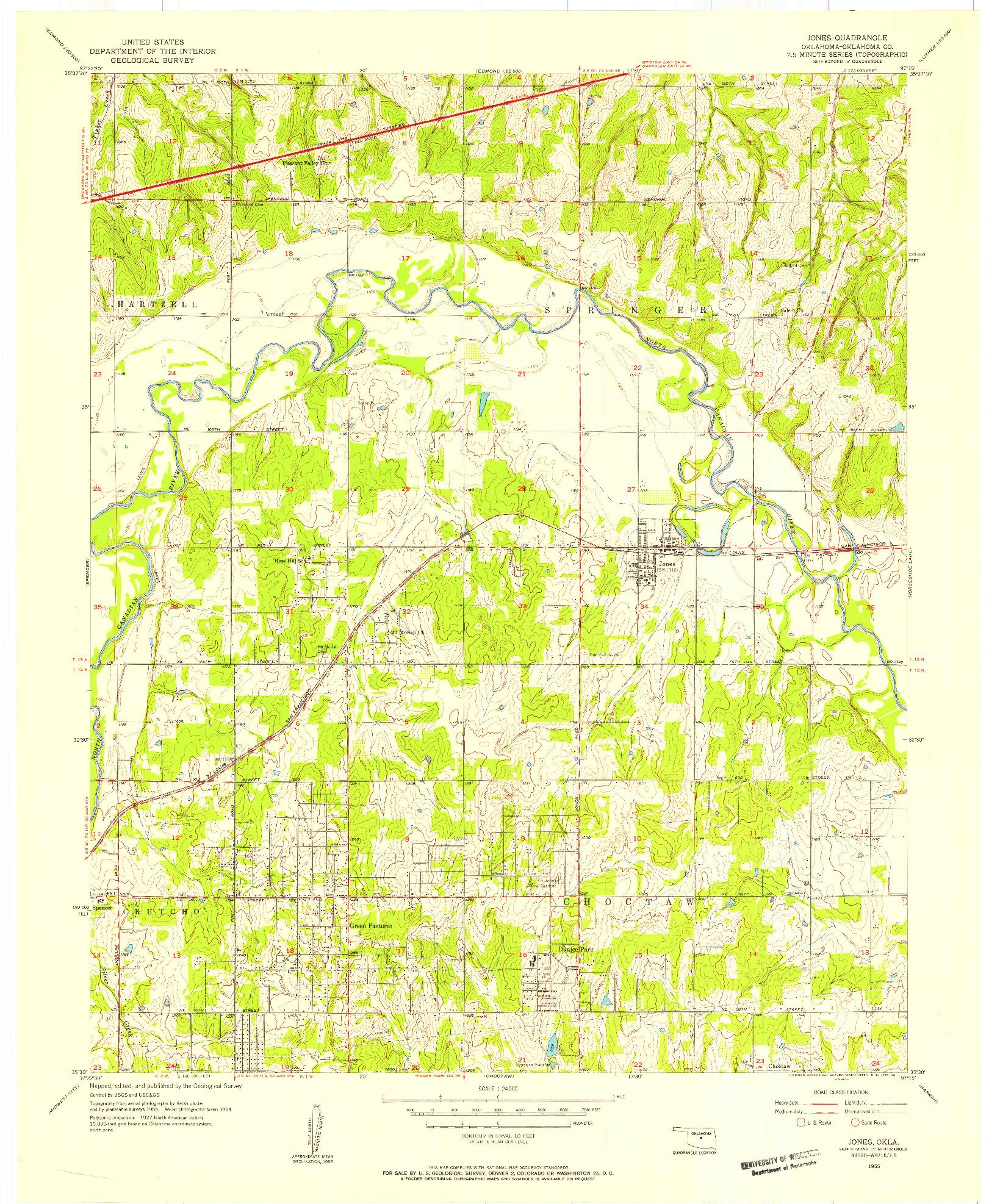 USGS 1:24000-SCALE QUADRANGLE FOR JONES, OK 1955