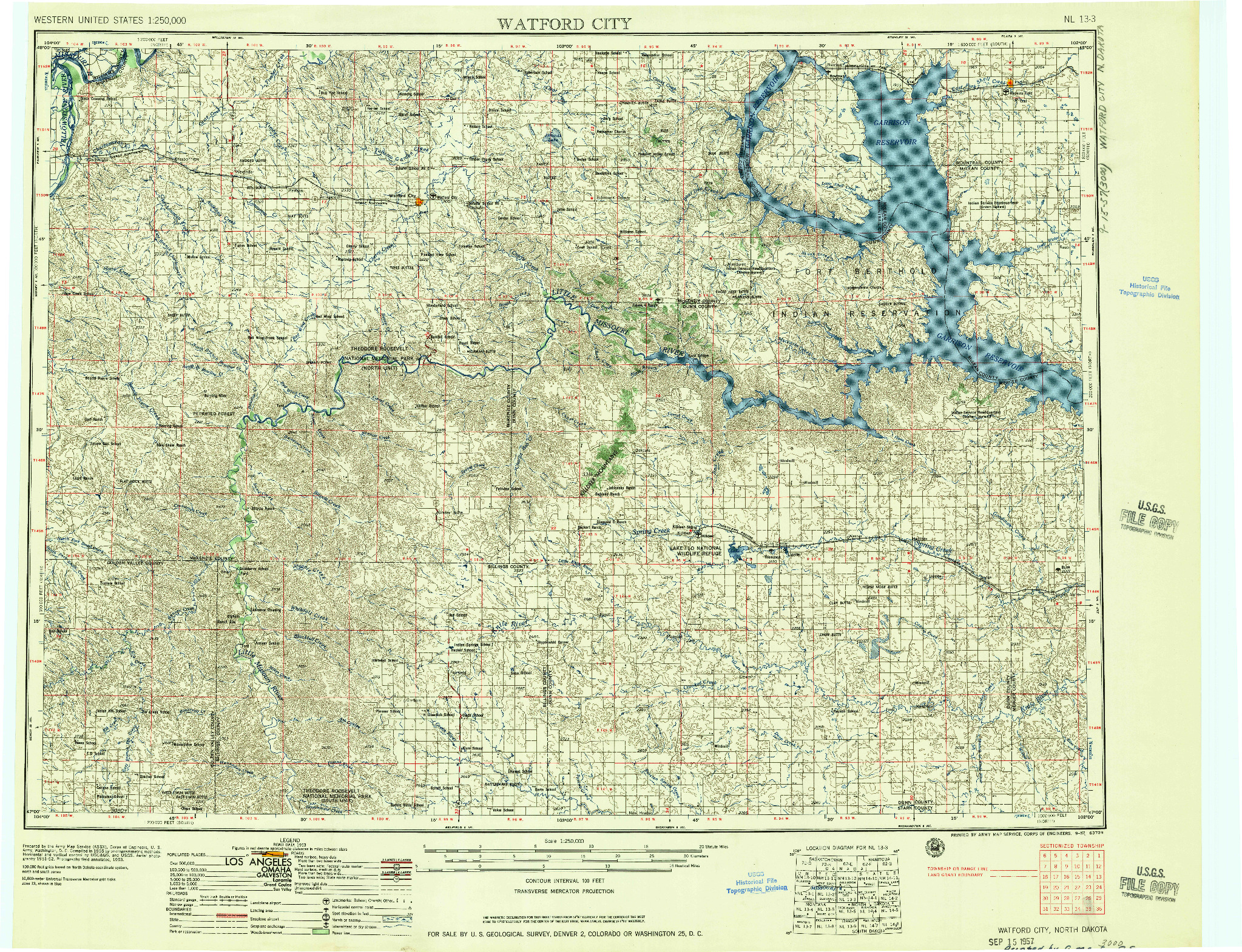 USGS 1:250000-SCALE QUADRANGLE FOR WATFORD CITY, ND 1957