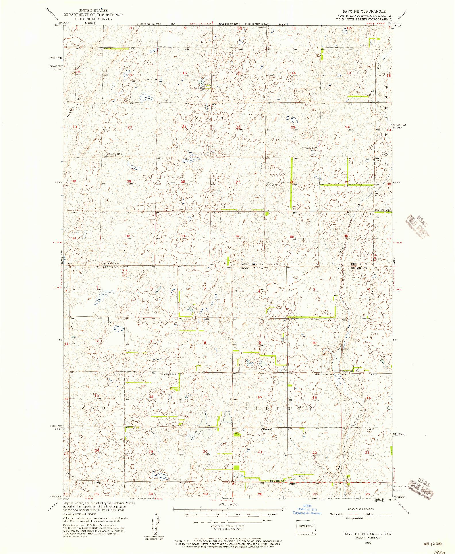 USGS 1:24000-SCALE QUADRANGLE FOR SAVO NE, ND 1956