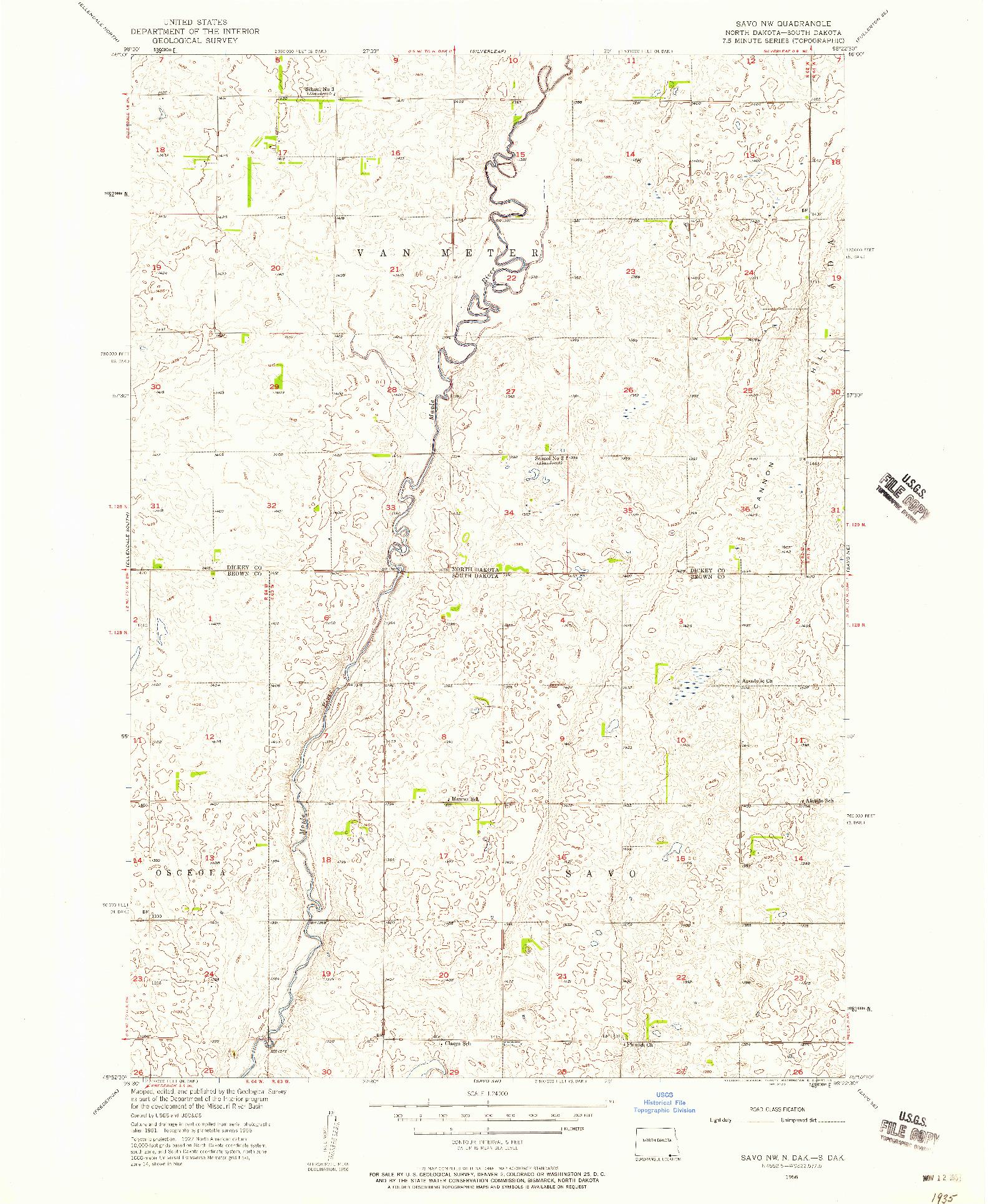 USGS 1:24000-SCALE QUADRANGLE FOR SAVO NW, ND 1956
