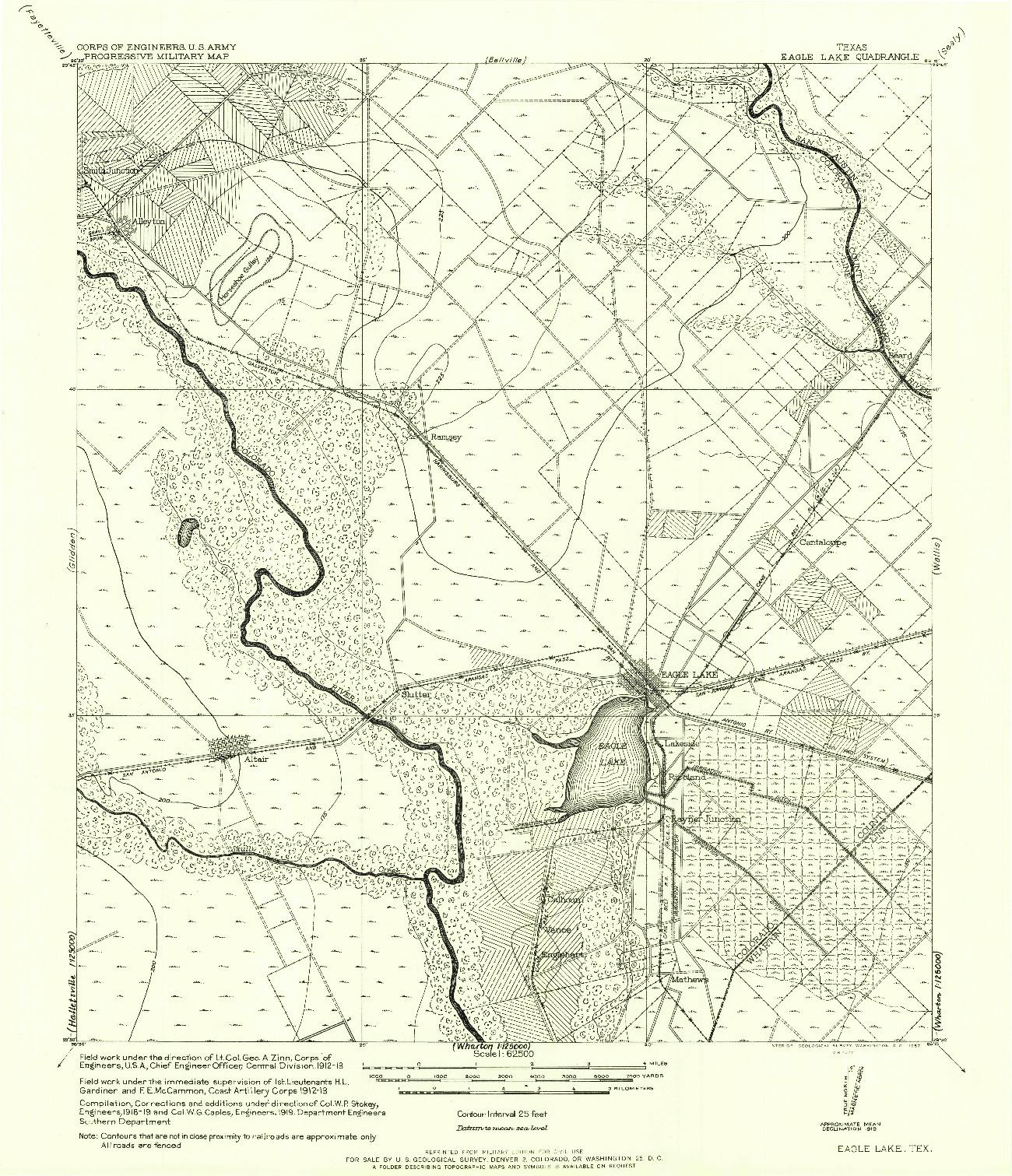 USGS 1:62500-SCALE QUADRANGLE FOR EAGLE LAKE, TX 1957