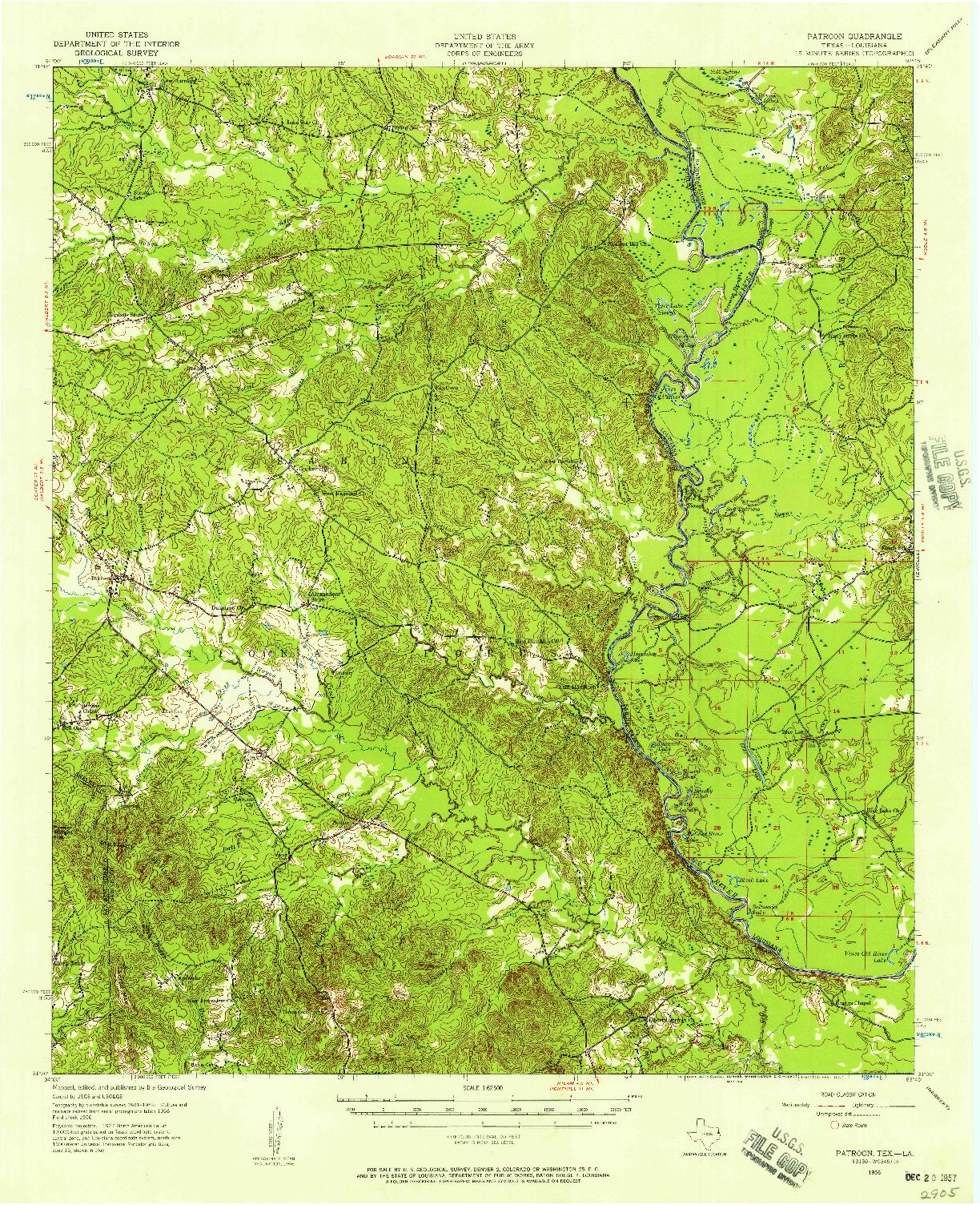 USGS 1:62500-SCALE QUADRANGLE FOR PATROON, TX 1956