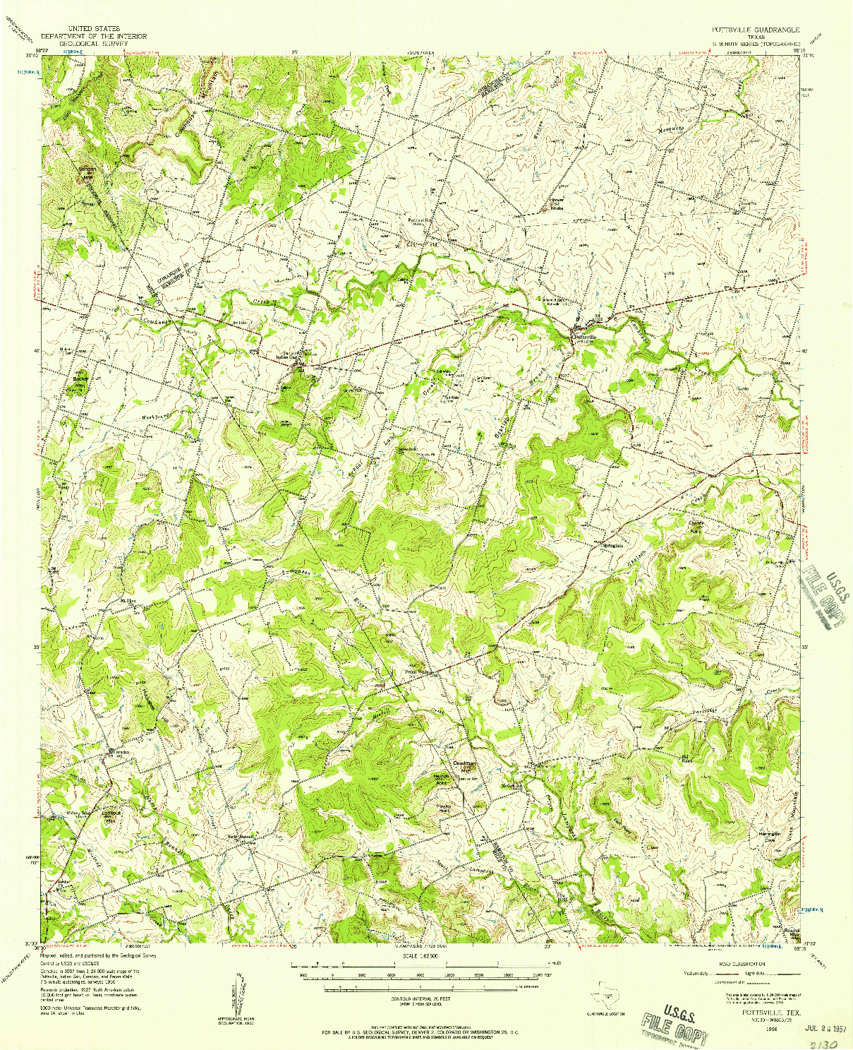 USGS 1:62500-SCALE QUADRANGLE FOR POTTSVILLE, TX 1956