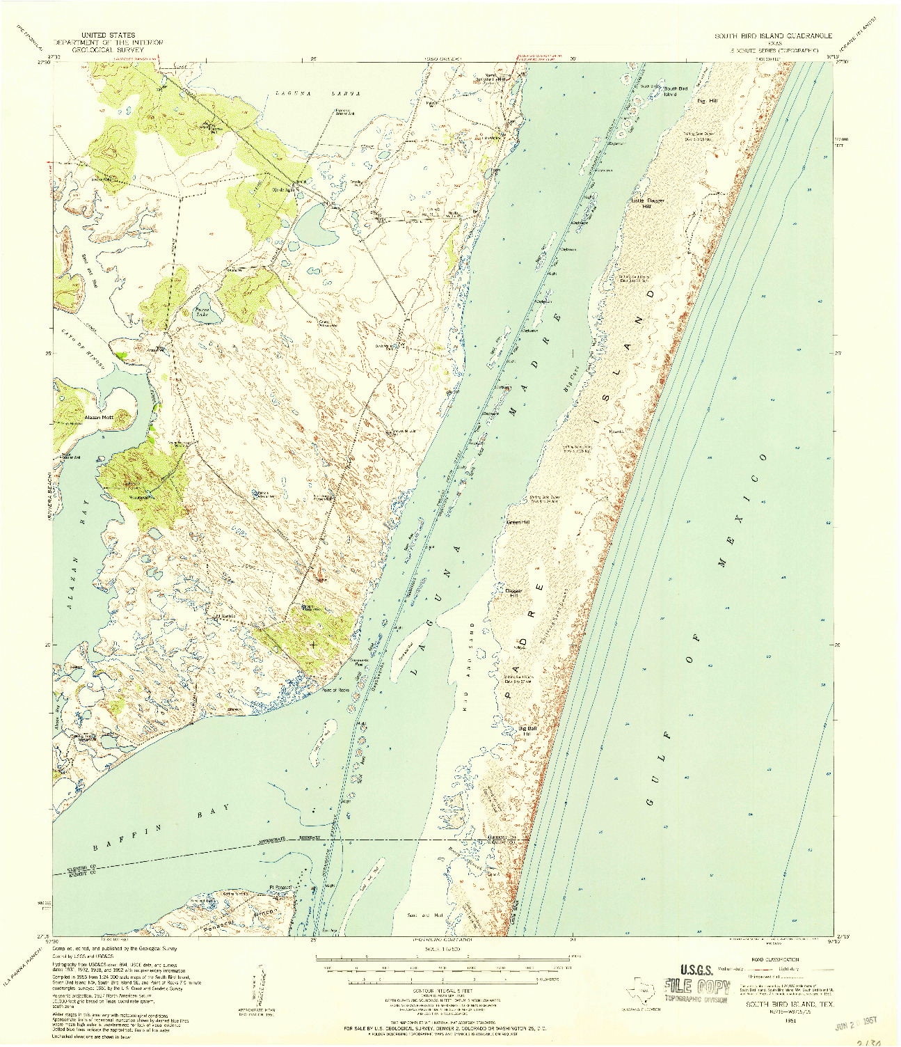 USGS 1:62500-SCALE QUADRANGLE FOR SOUTH BIRD ISLAND, TX 1951