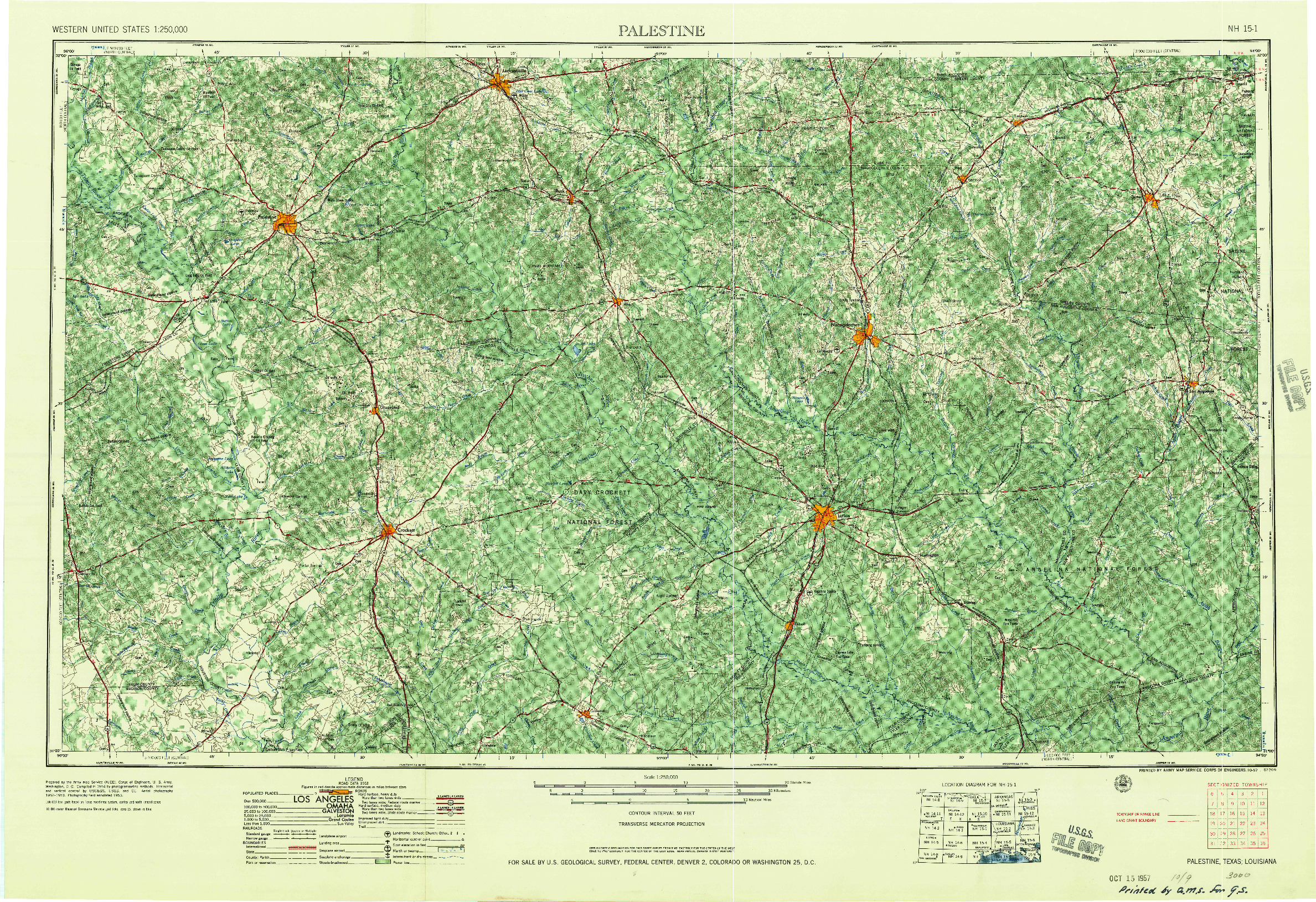 USGS 1:250000-SCALE QUADRANGLE FOR PALESTINE, TX 1957