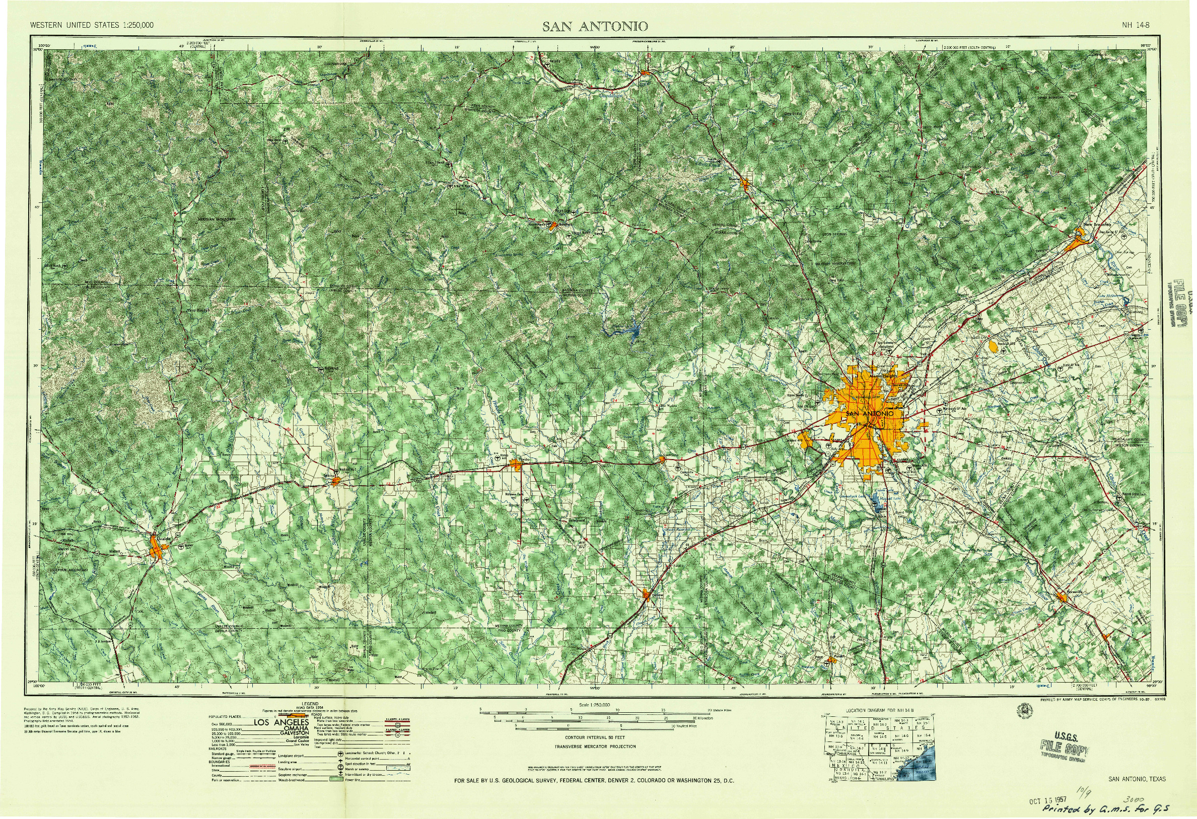 USGS 1:250000-SCALE QUADRANGLE FOR SAN ANTONIO, TX 1957
