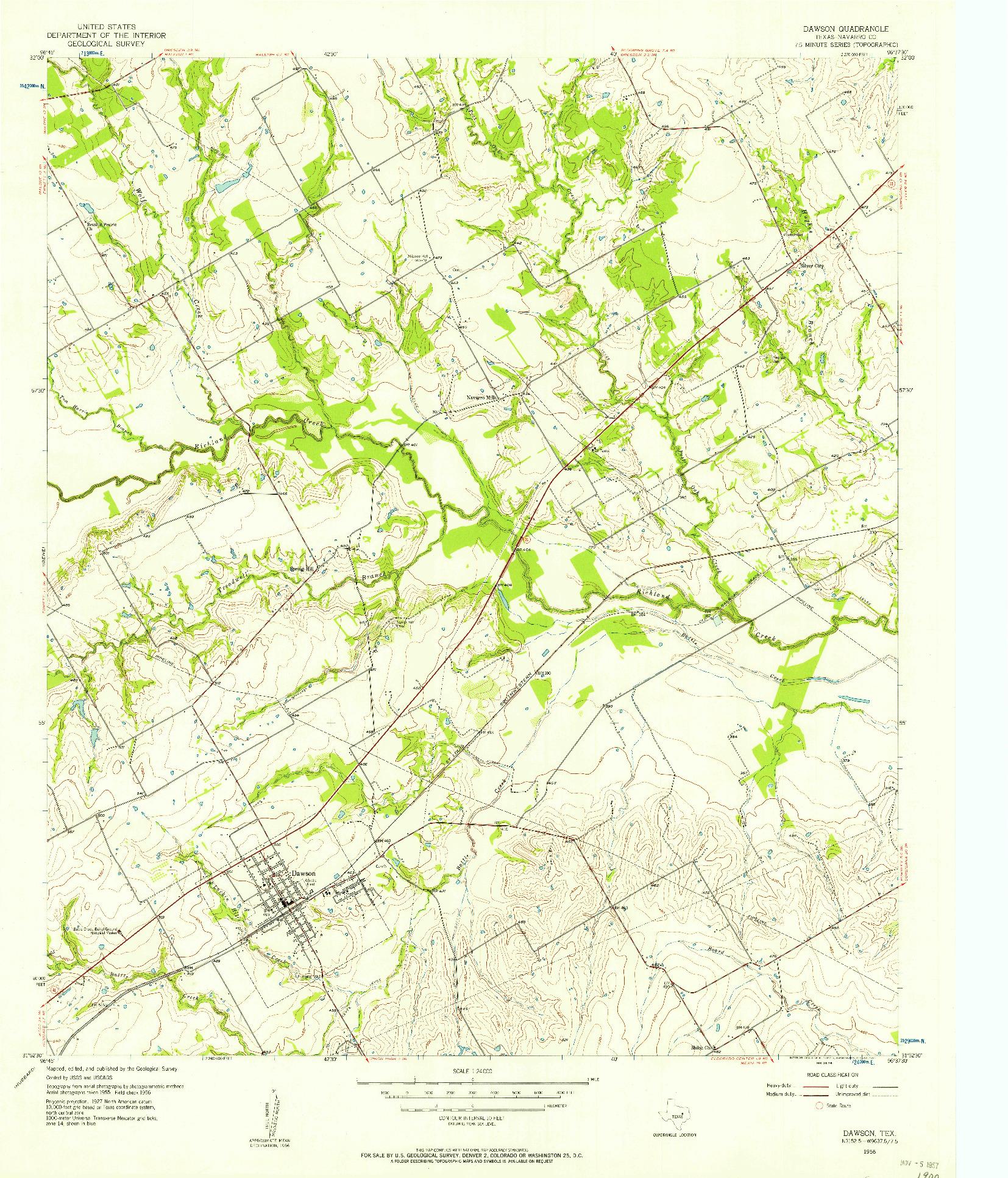 USGS 1:24000-SCALE QUADRANGLE FOR DAWSON, TX 1956