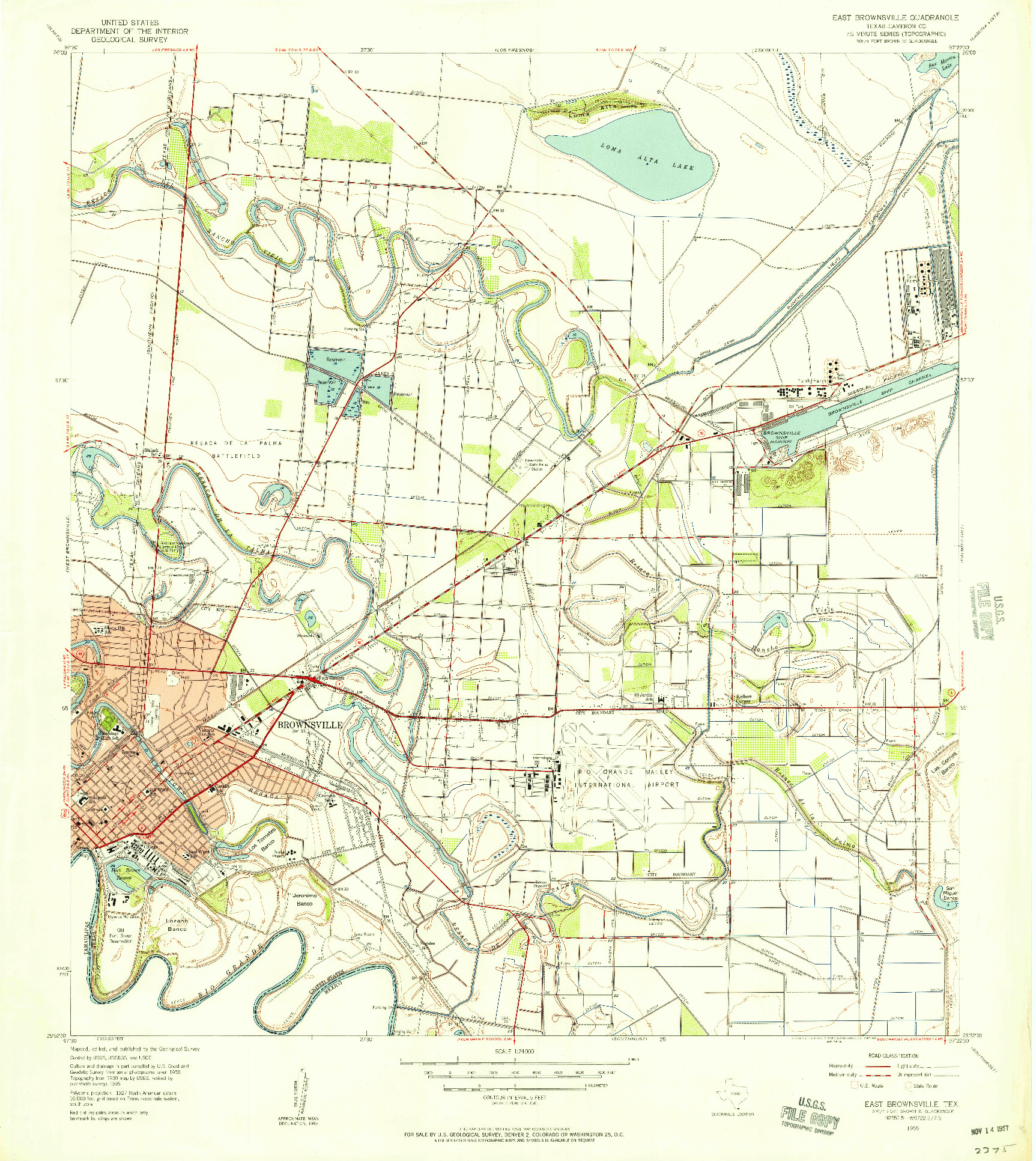USGS 1:24000-SCALE QUADRANGLE FOR EAST BROWNSVILLE, TX 1955