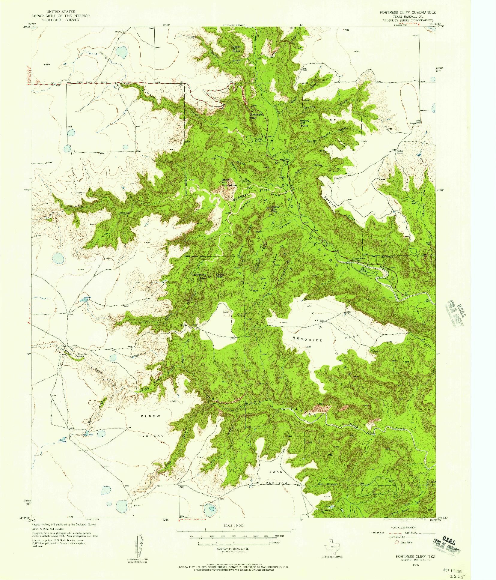 USGS 1:24000-SCALE QUADRANGLE FOR FORTRESS CLIFF, TX 1956