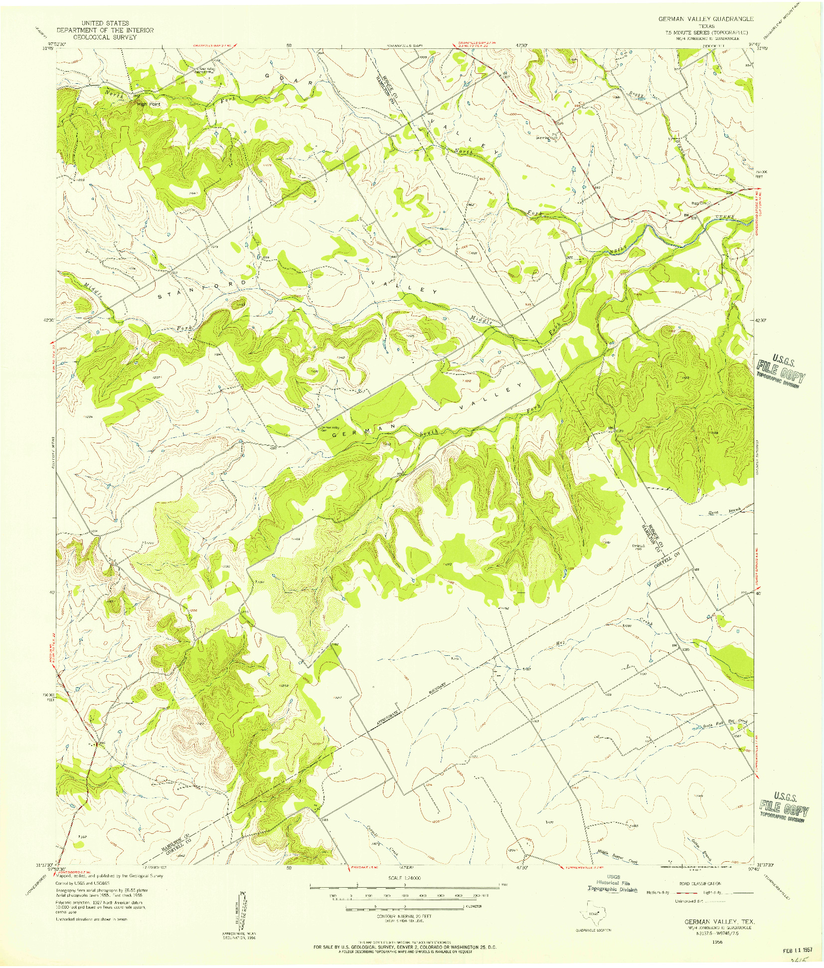USGS 1:24000-SCALE QUADRANGLE FOR GERMAN VALLEY, TX 1956