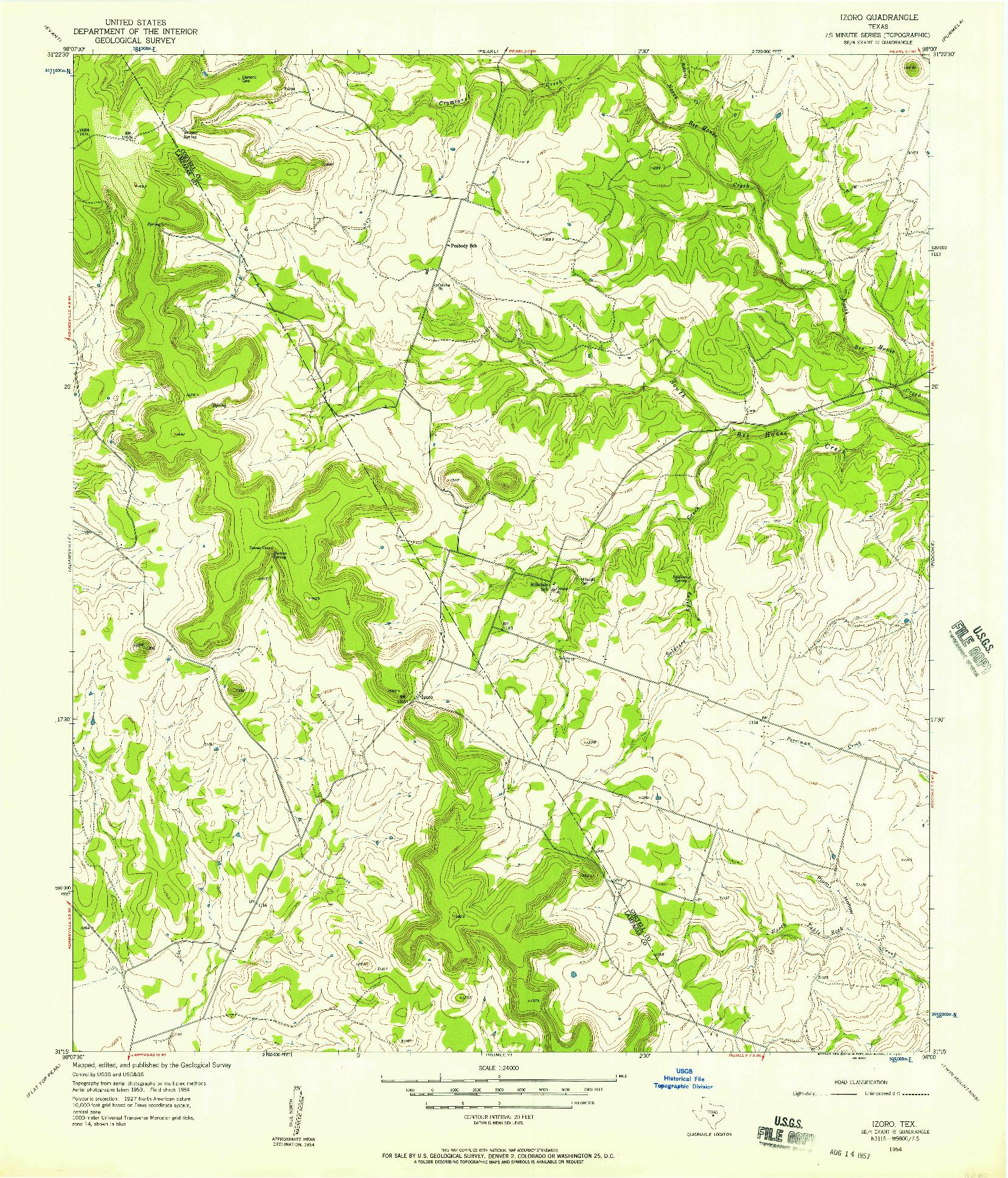 USGS 1:24000-SCALE QUADRANGLE FOR IZORO, TX 1954