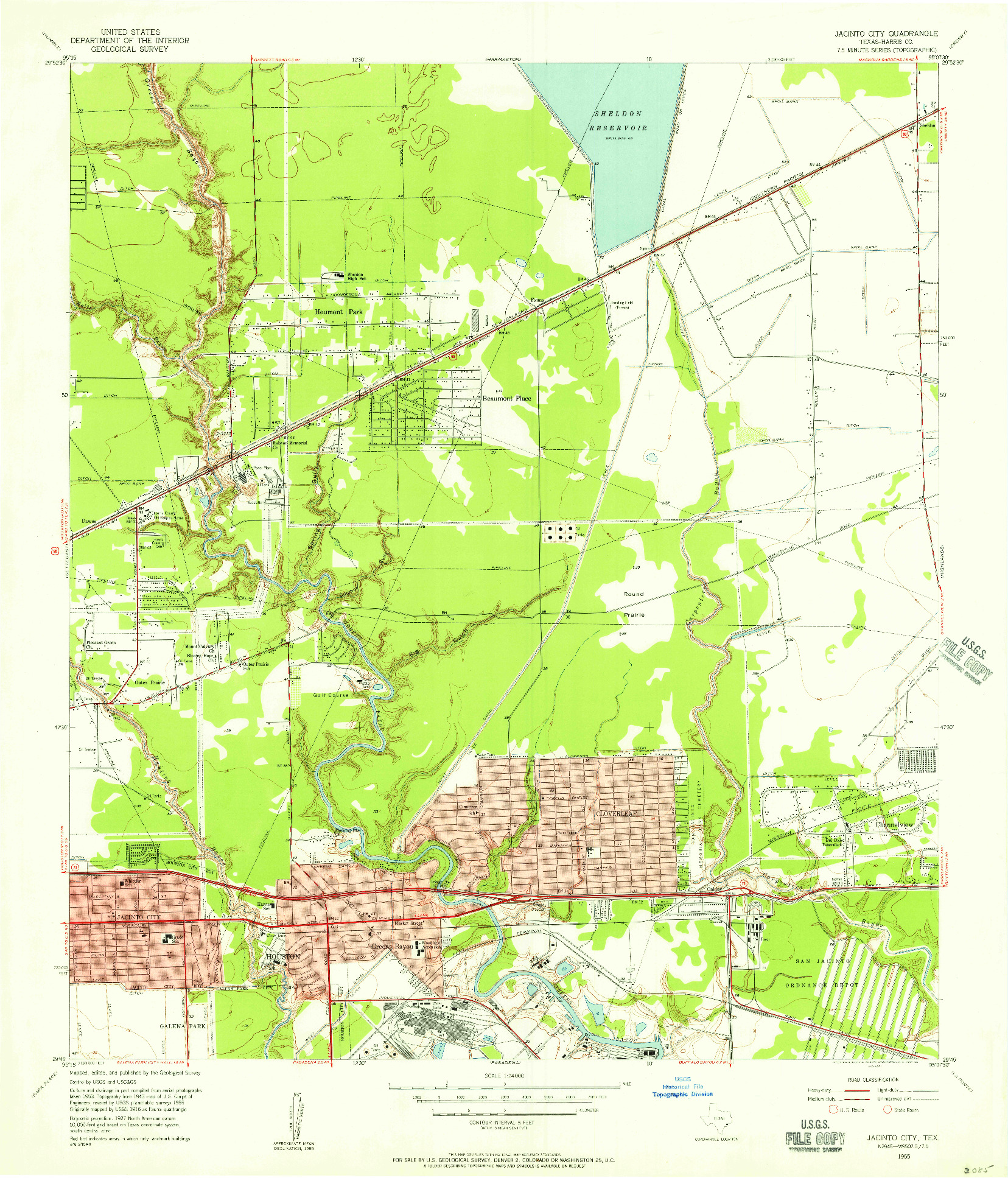 USGS 1:24000-SCALE QUADRANGLE FOR JACINTO CITY, TX 1955