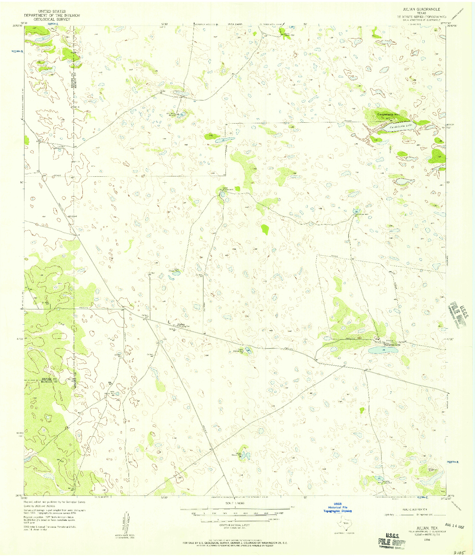 USGS 1:24000-SCALE QUADRANGLE FOR JULIAN, TX 1956