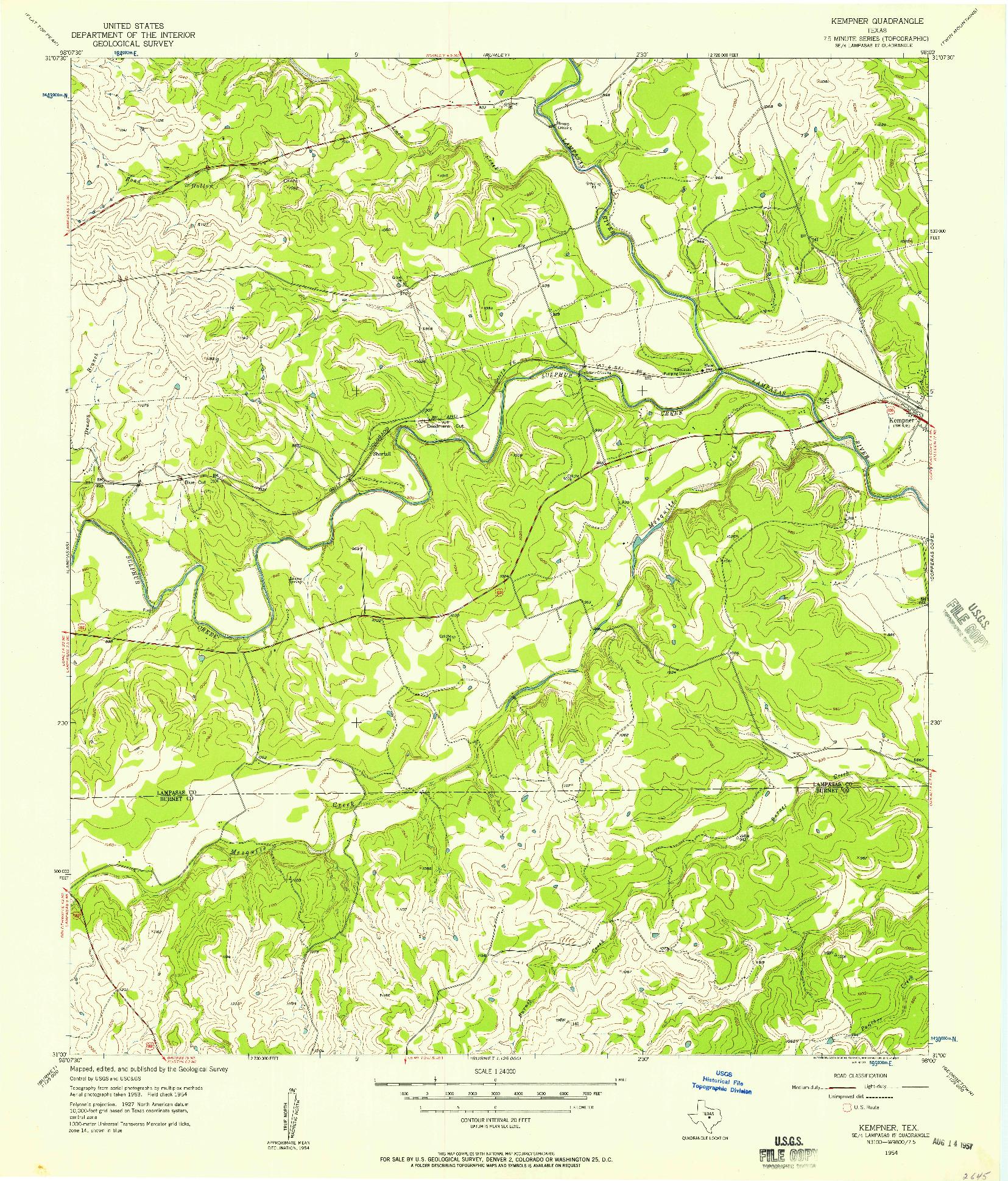 USGS 1:24000-SCALE QUADRANGLE FOR KEMPNER, TX 1954