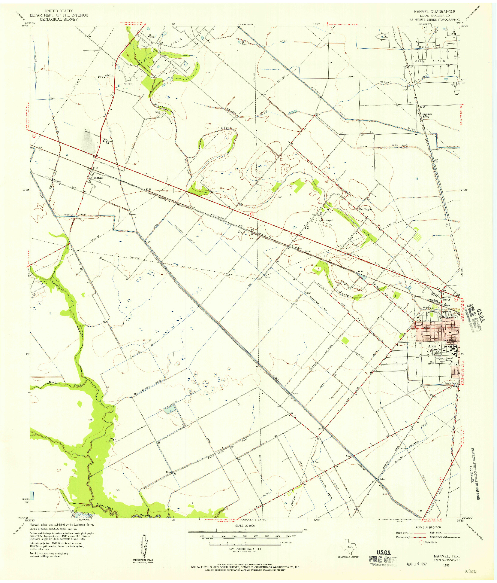 USGS 1:24000-SCALE QUADRANGLE FOR MANVEL, TX 1956