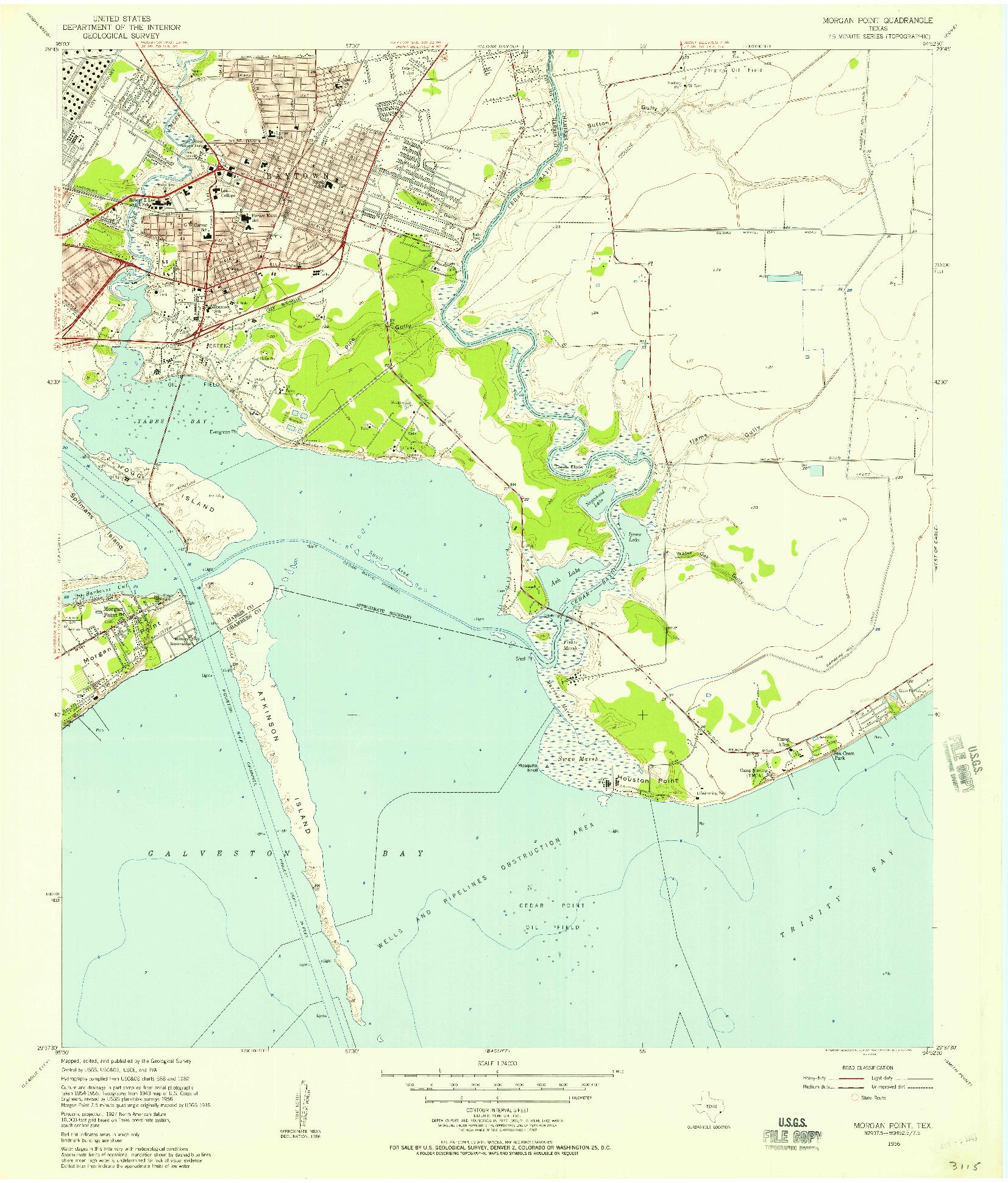 USGS 1:24000-SCALE QUADRANGLE FOR MORGAN POINT, TX 1956