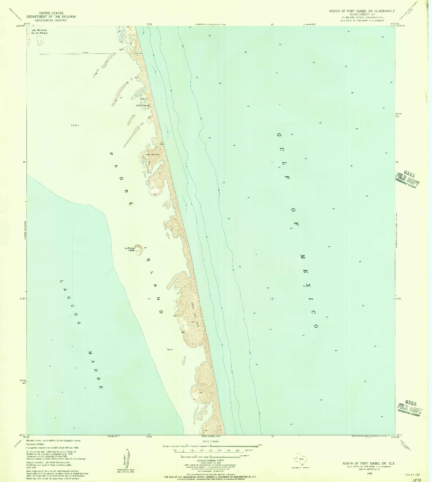 USGS 1:24000-SCALE QUADRANGLE FOR NORTH OF PORT ISABEL SW, TX 1955