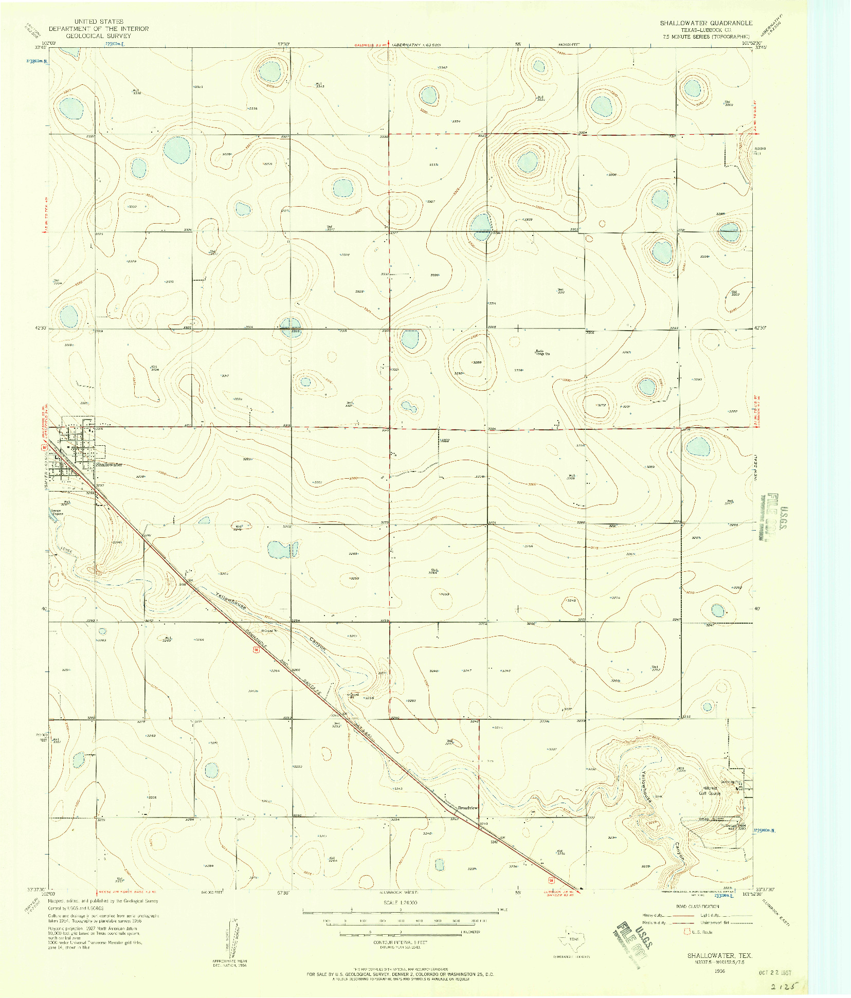 USGS 1:24000-SCALE QUADRANGLE FOR SHALLOWATER, TX 1956