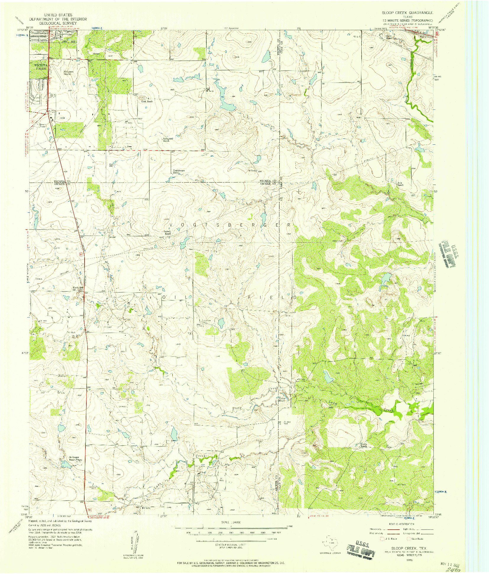 USGS 1:24000-SCALE QUADRANGLE FOR SLOOP CREEK, TX 1956