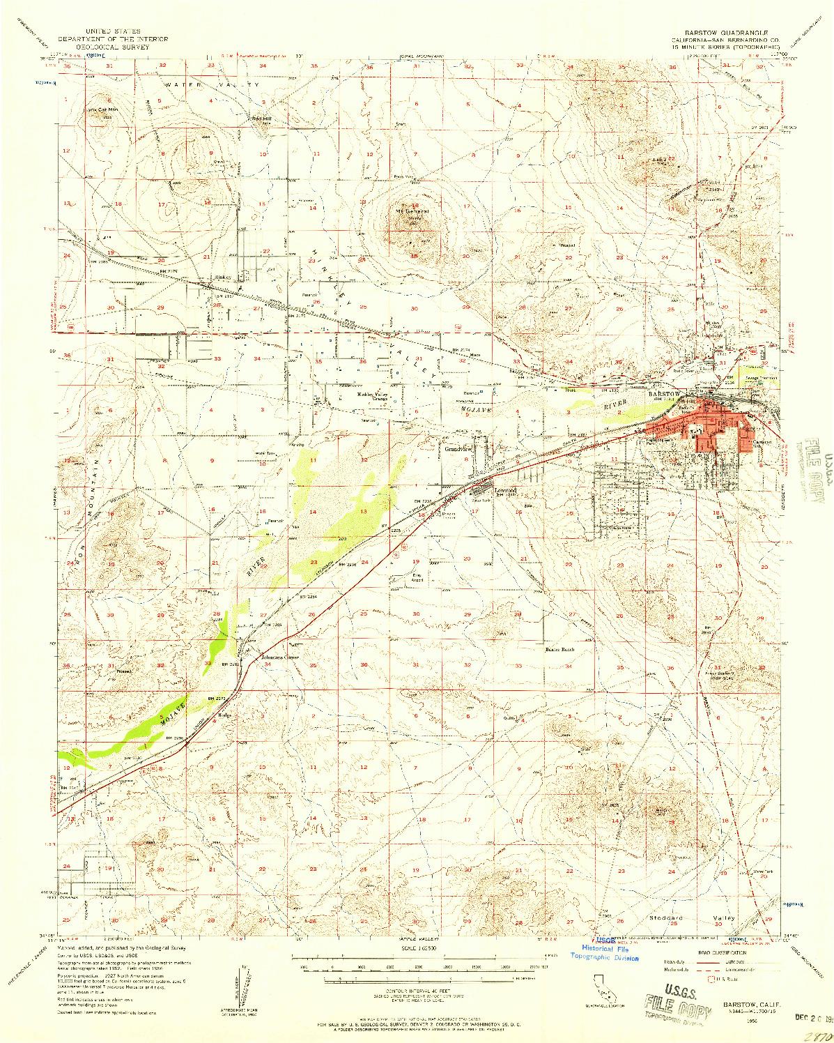 USGS 1:62500-SCALE QUADRANGLE FOR BARSTOW, CA 1956