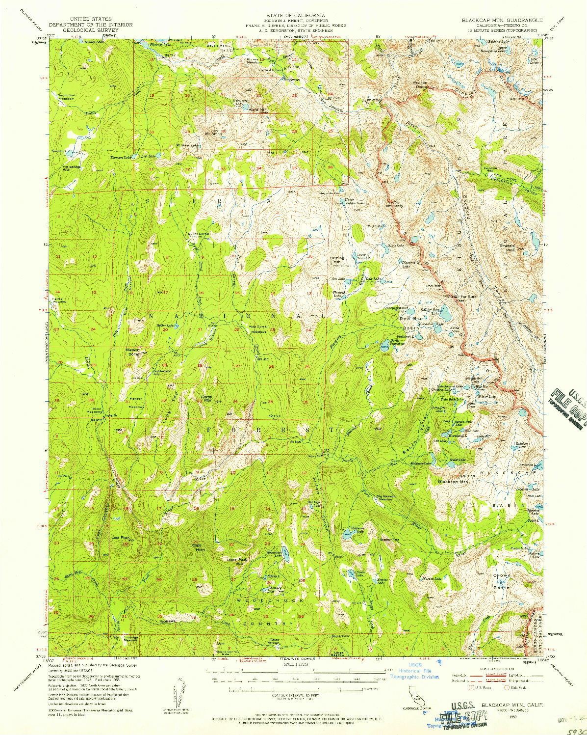 USGS 1:62500-SCALE QUADRANGLE FOR BLACKCAP MTN, CA 1953
