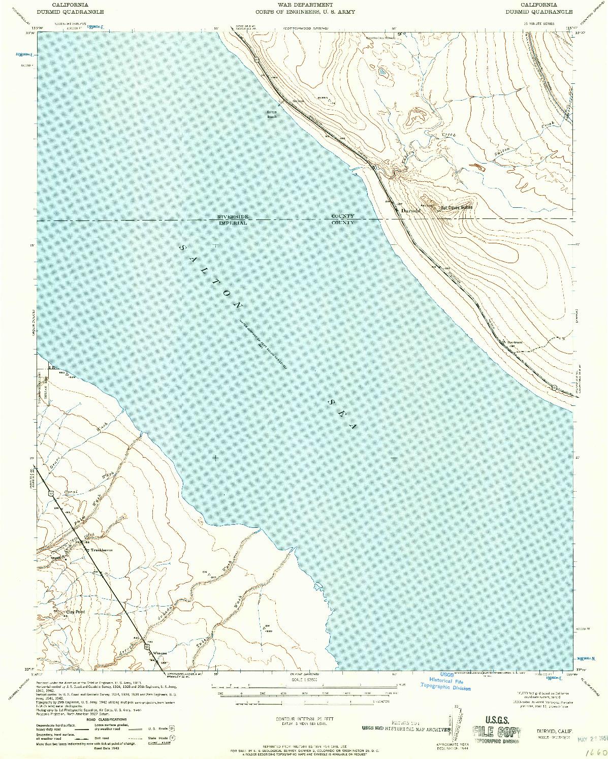 USGS 1:62500-SCALE QUADRANGLE FOR DURMID, CA 1957