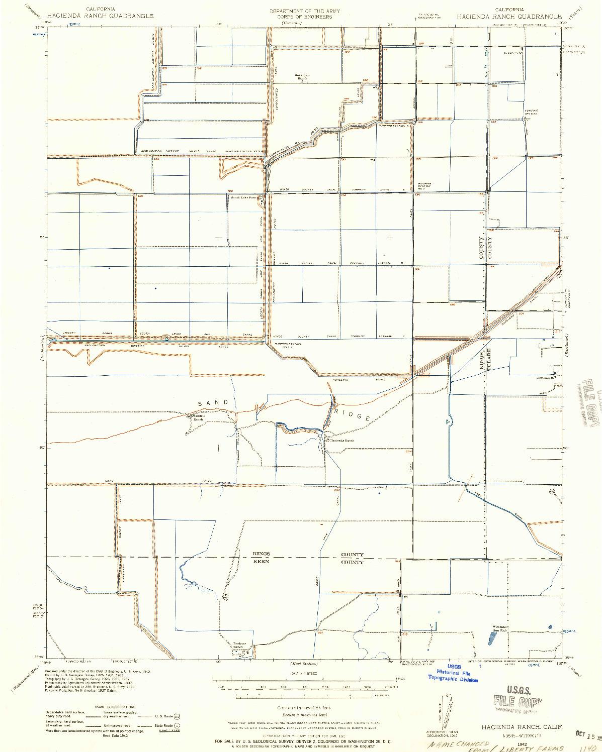 USGS 1:62500-SCALE QUADRANGLE FOR HACIENDA RANCH, CA 1942