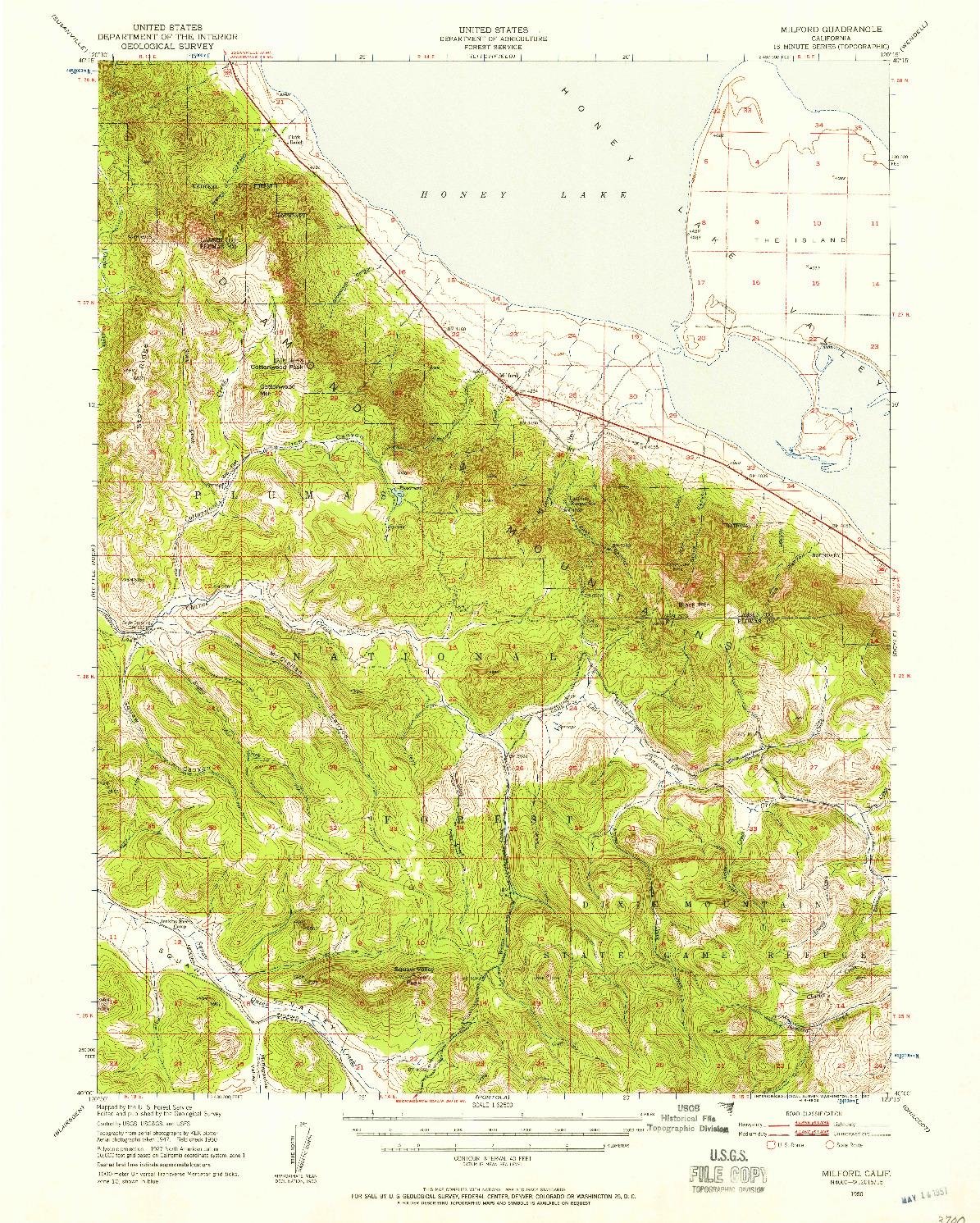USGS 1:62500-SCALE QUADRANGLE FOR MILFORD, CA 1950