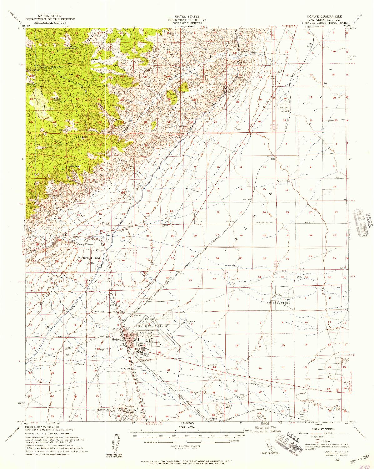 USGS 1:62500-SCALE QUADRANGLE FOR MOJAVE, CA 1956