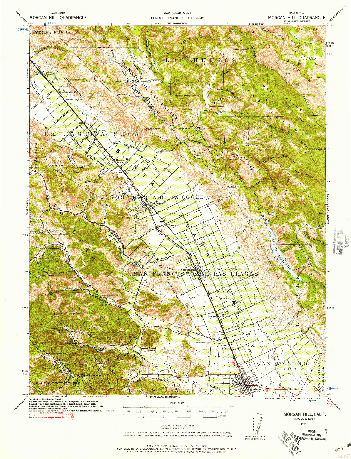 USGS 1:62500-SCALE QUADRANGLE FOR MORGAN HILL, CA 1939