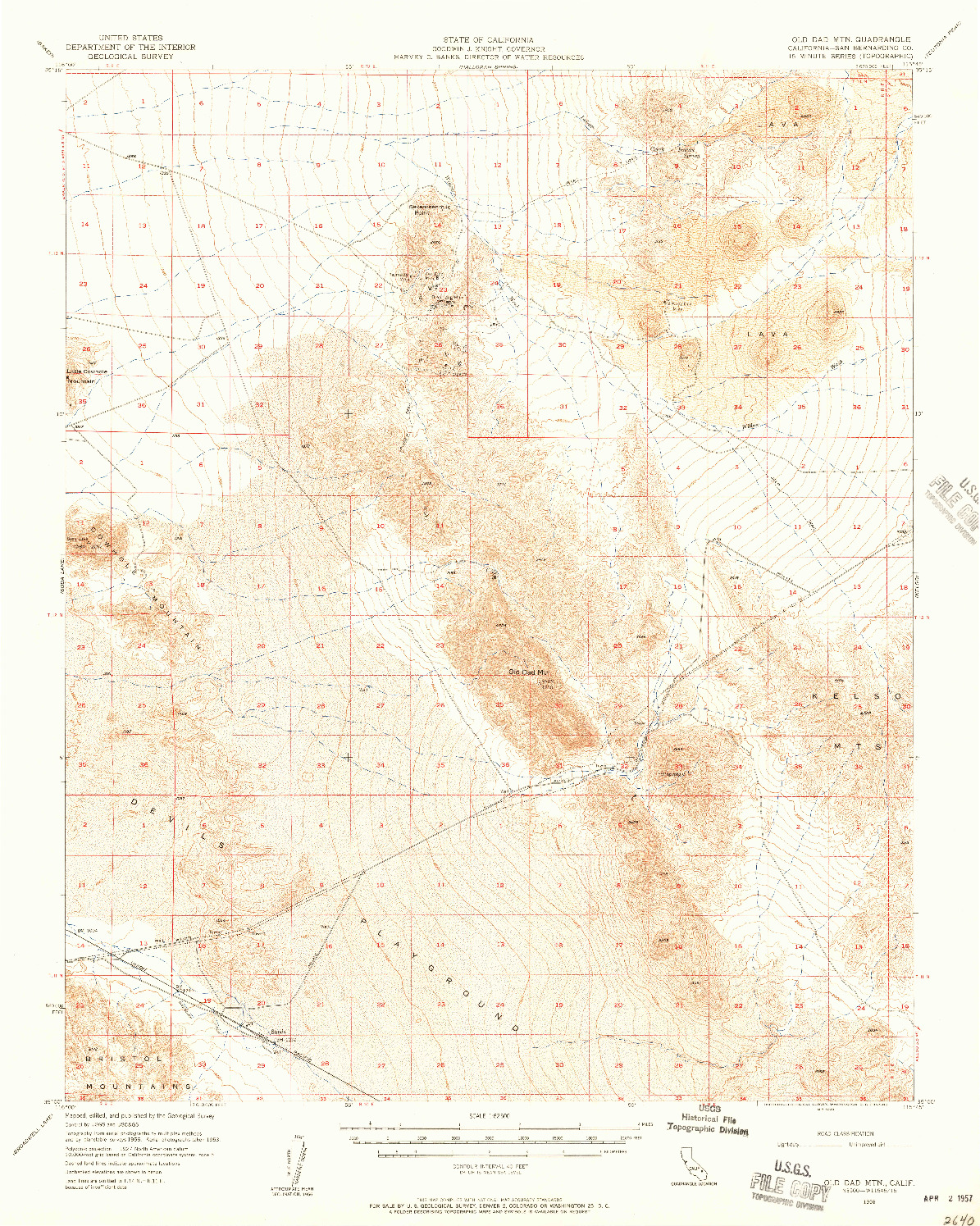 USGS 1:62500-SCALE QUADRANGLE FOR OLD DAD MOUNTAIN, CA 1956