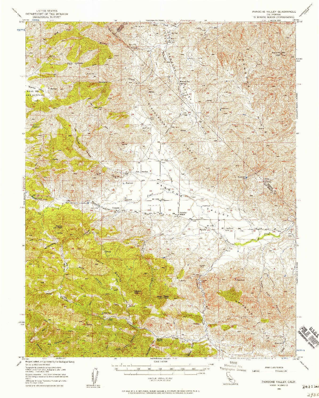 USGS 1:62500-SCALE QUADRANGLE FOR PANOCHE VALLEY, CA 1956