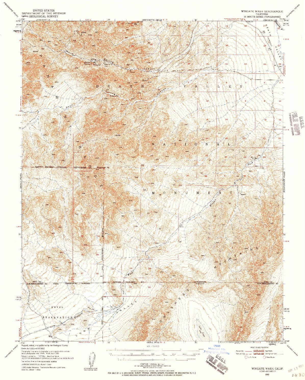 USGS 1:62500-SCALE QUADRANGLE FOR WINGATE WASH, CA 1950