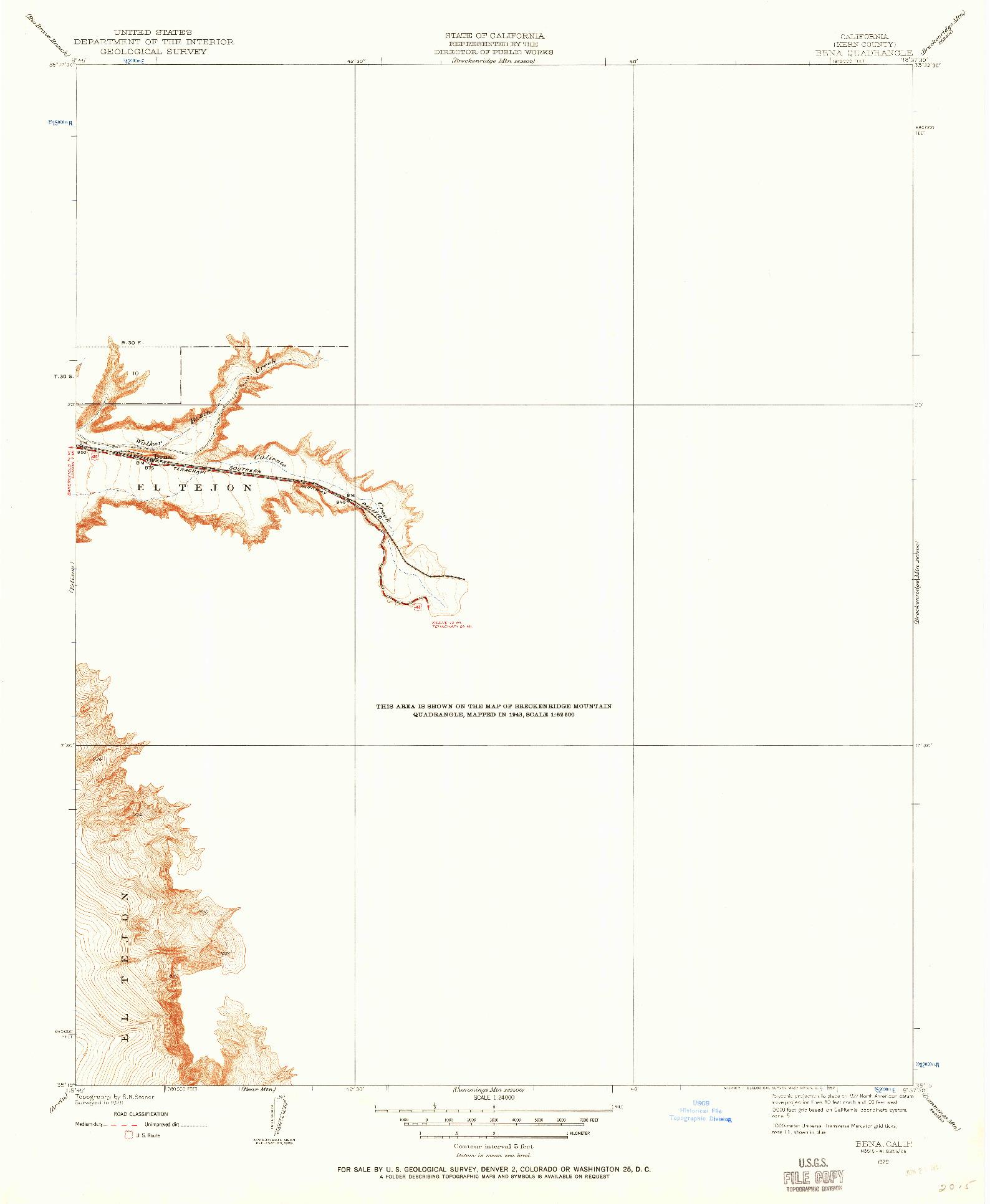 USGS 1:24000-SCALE QUADRANGLE FOR BENA, CA 1929