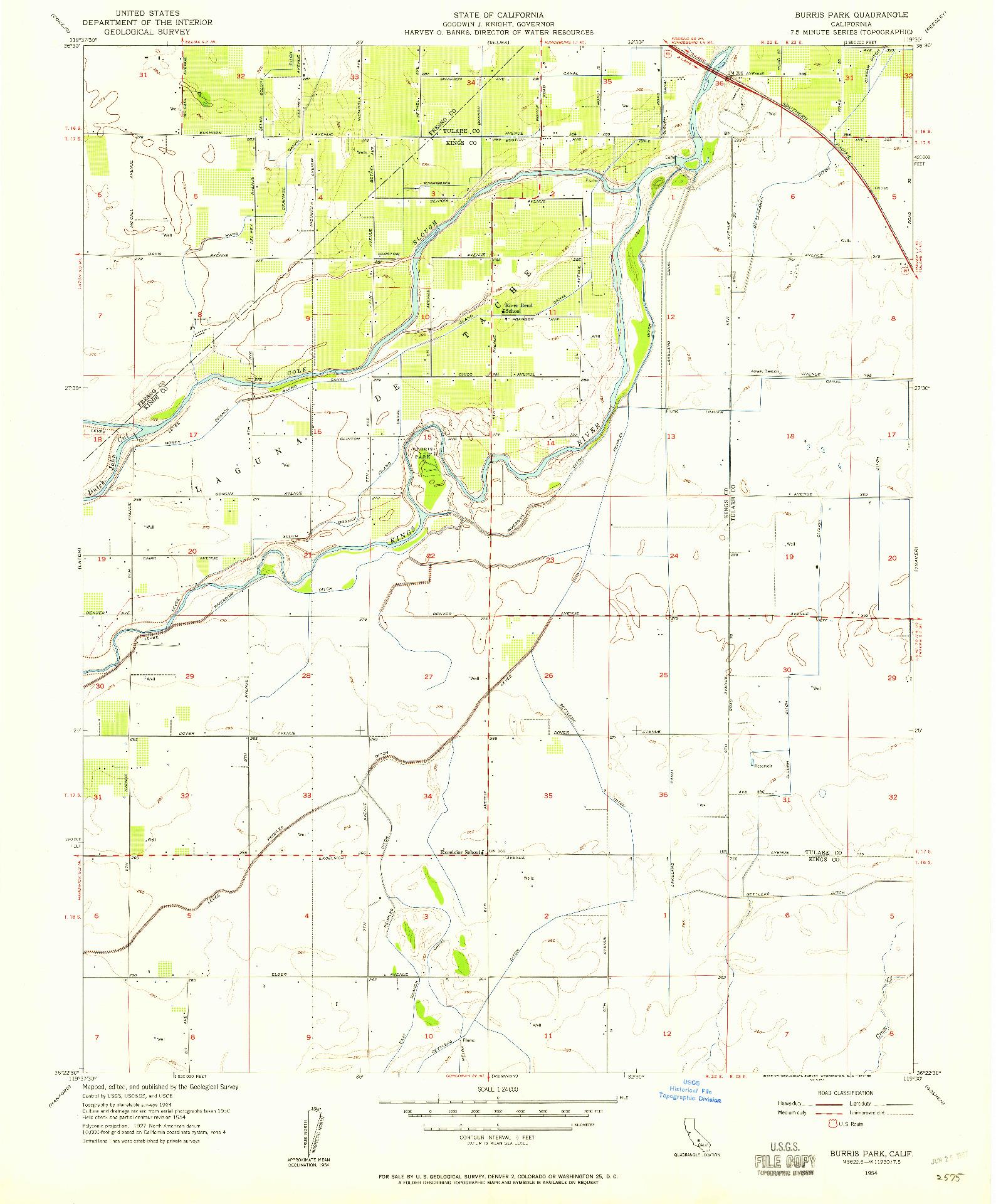USGS 1:24000-SCALE QUADRANGLE FOR BURRIS PARK, CA 1954