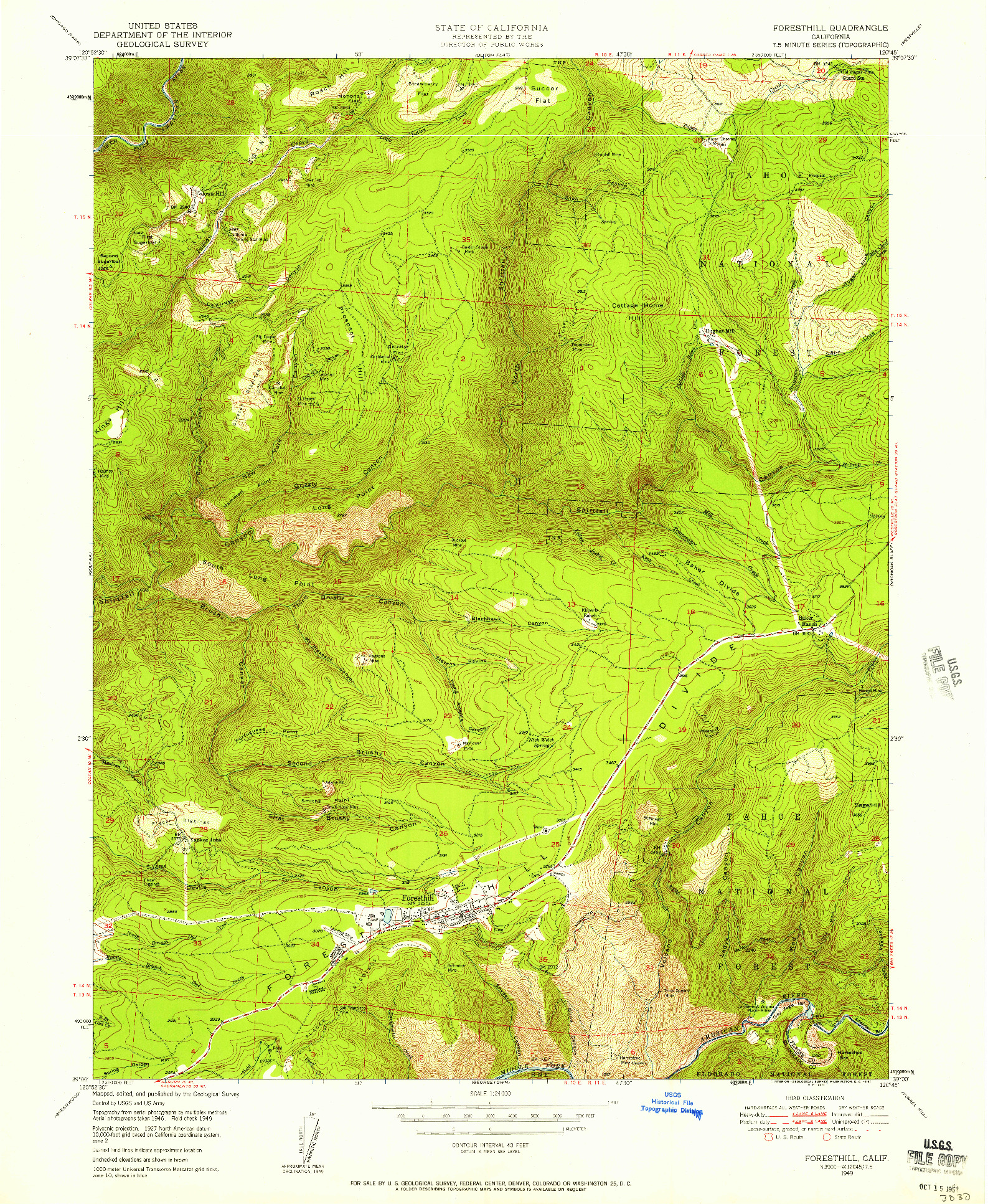 USGS 1:24000-SCALE QUADRANGLE FOR FORESTHILL, CA 1949