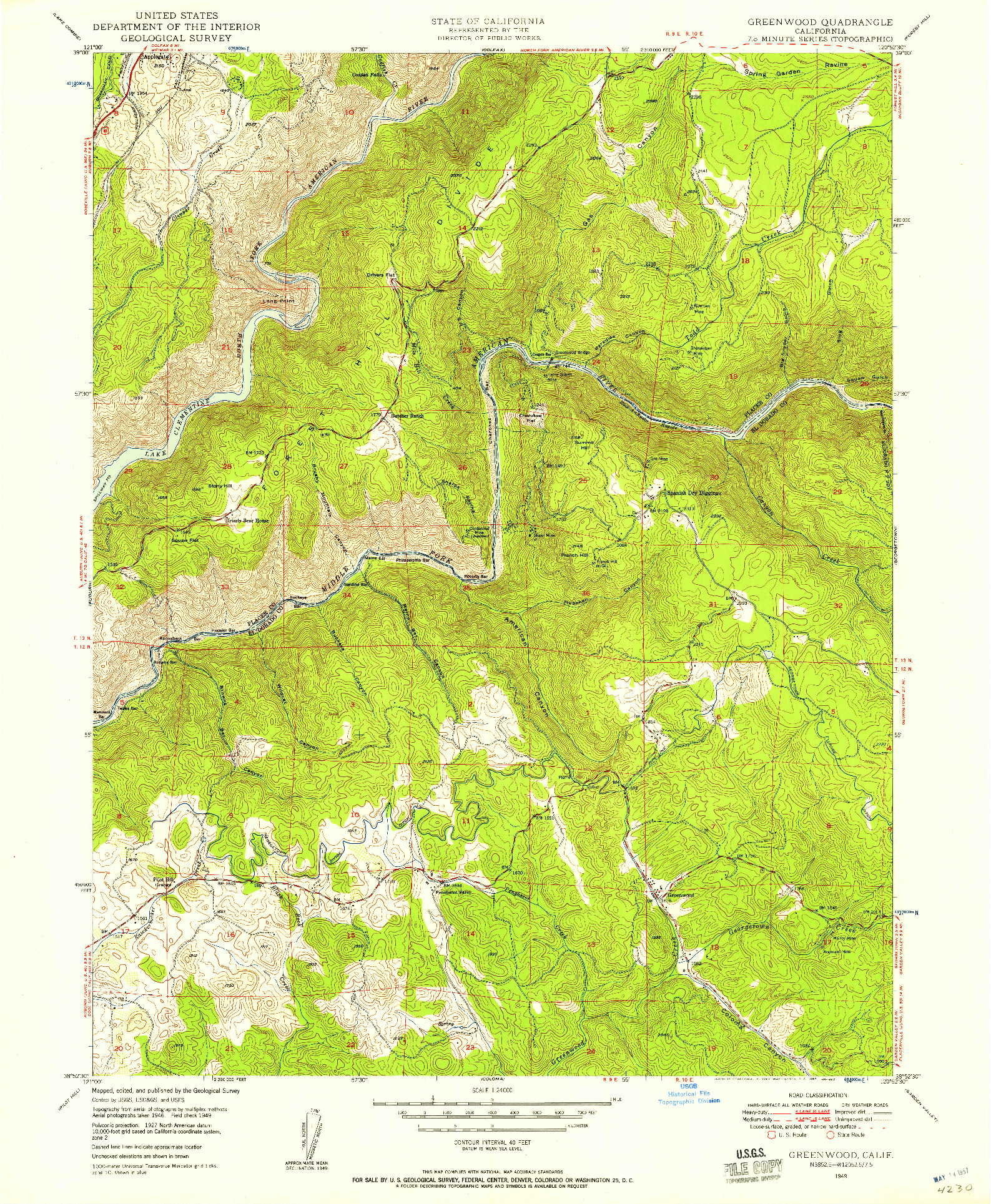 USGS 1:24000-SCALE QUADRANGLE FOR GREENWOOD, CA 1949