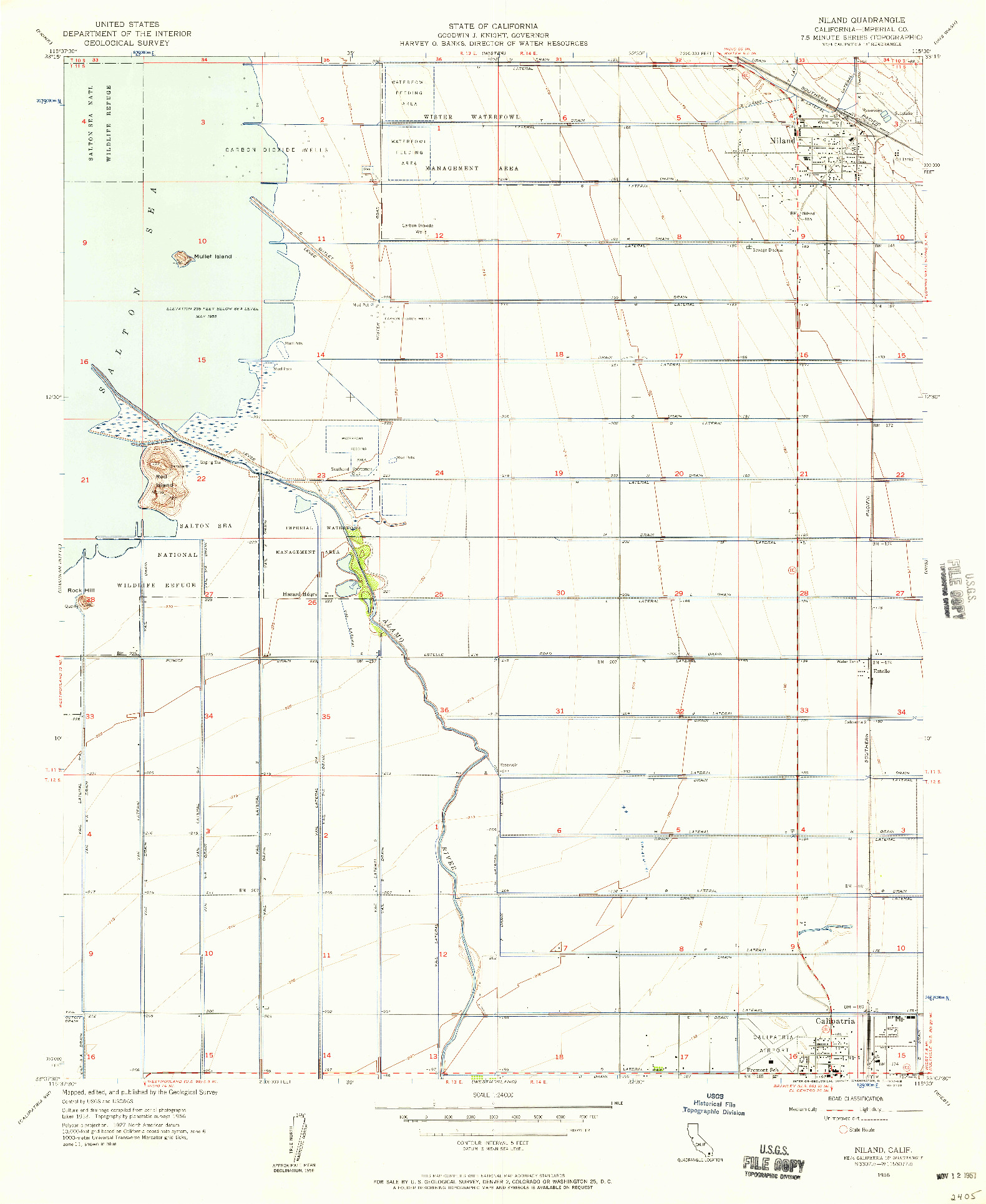 USGS 1:24000-SCALE QUADRANGLE FOR NILAND, CA 1956