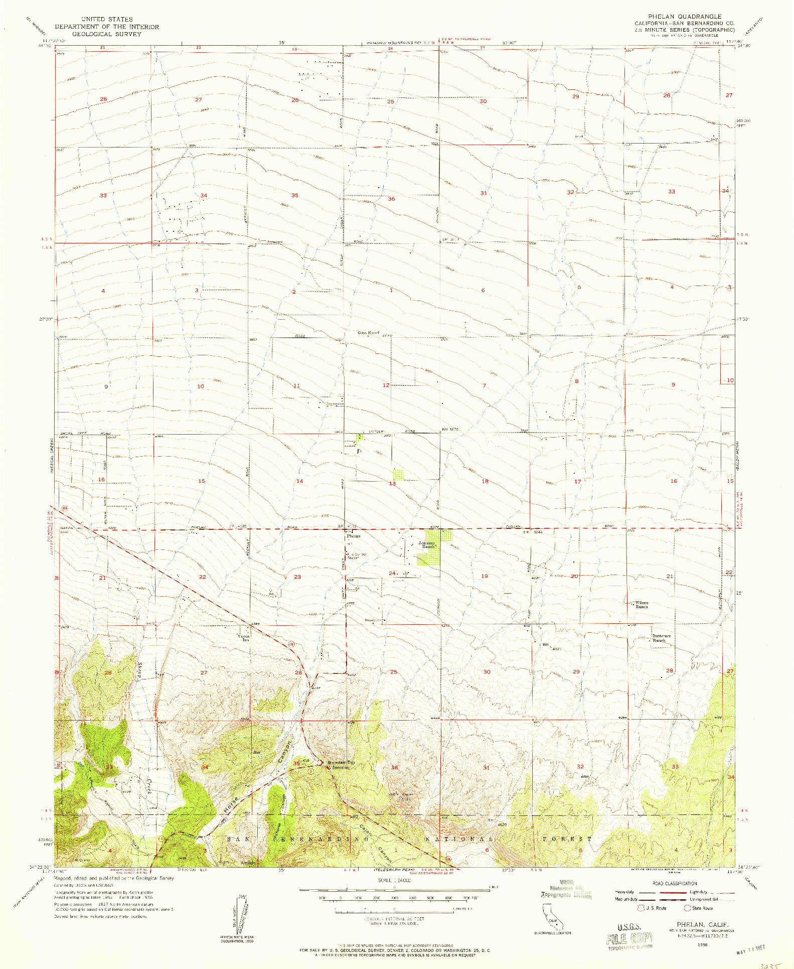 USGS 1:24000-SCALE QUADRANGLE FOR PHELAN, CA 1956