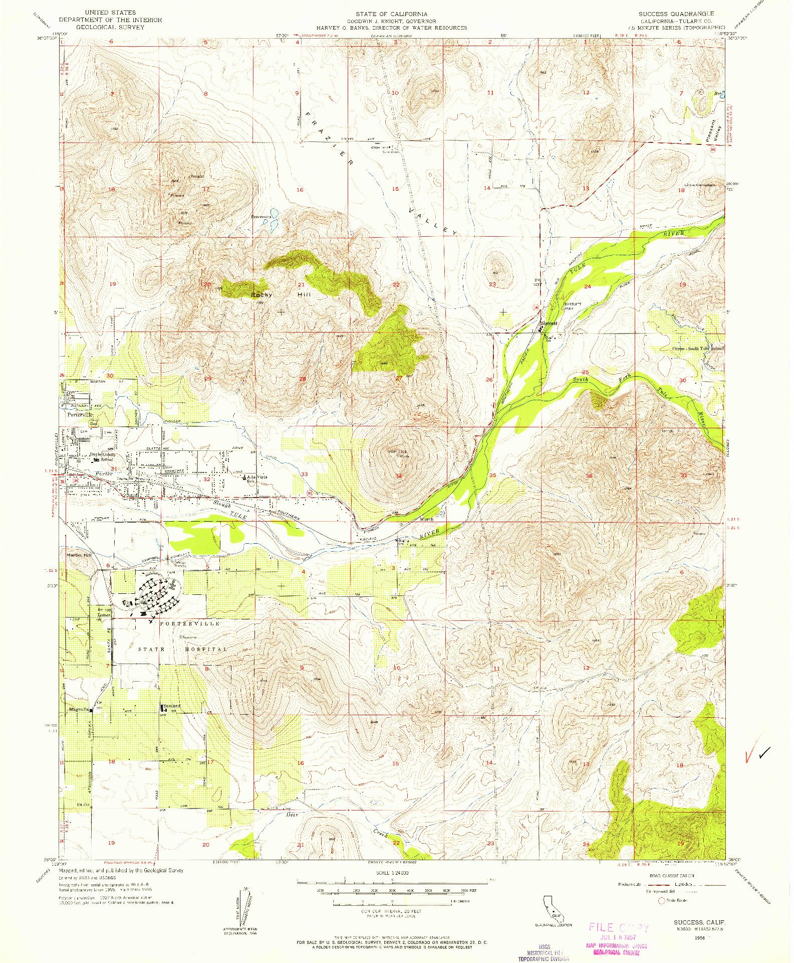 USGS 1:24000-SCALE QUADRANGLE FOR SUCCESS, CA 1956