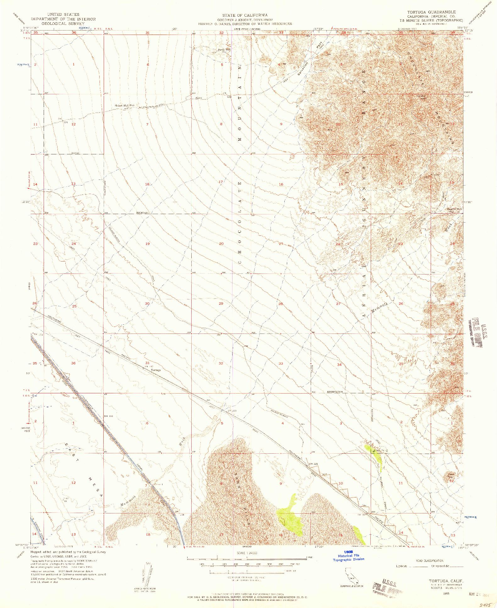 USGS 1:24000-SCALE QUADRANGLE FOR TORTUGA, CA 1955