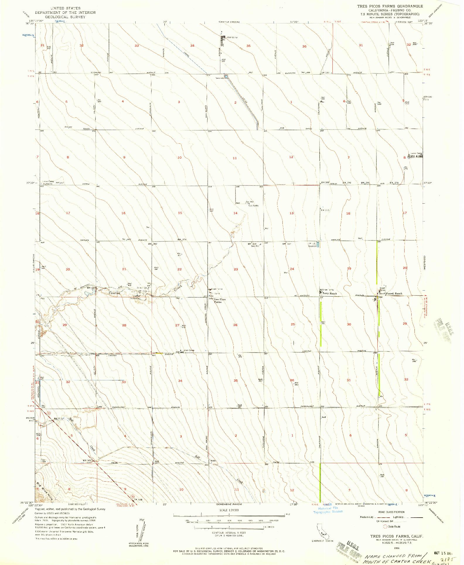 USGS 1:24000-SCALE QUADRANGLE FOR TRES PICOS FARMS, CA 1956