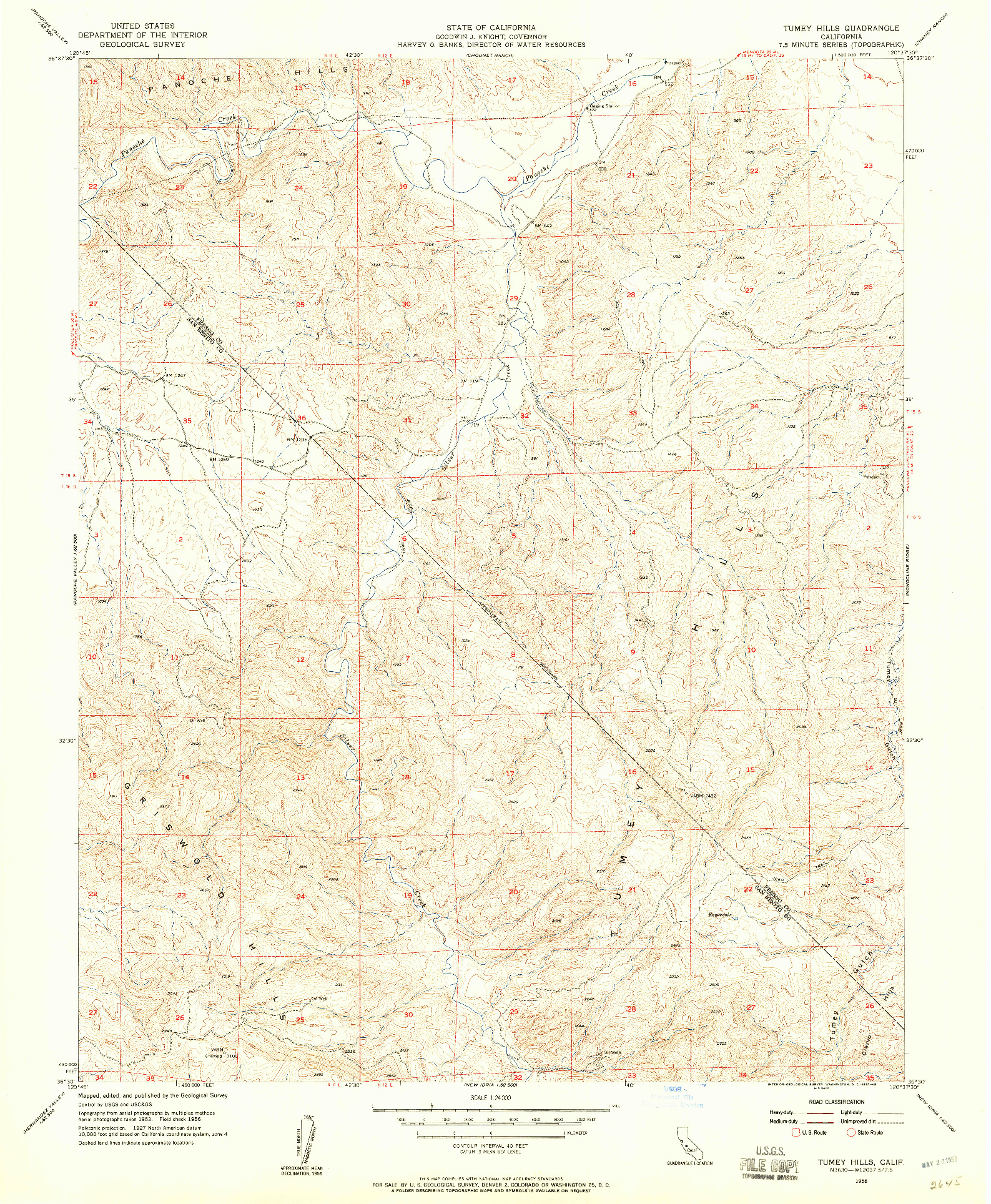 USGS 1:24000-SCALE QUADRANGLE FOR TUMEY HILLS, CA 1956
