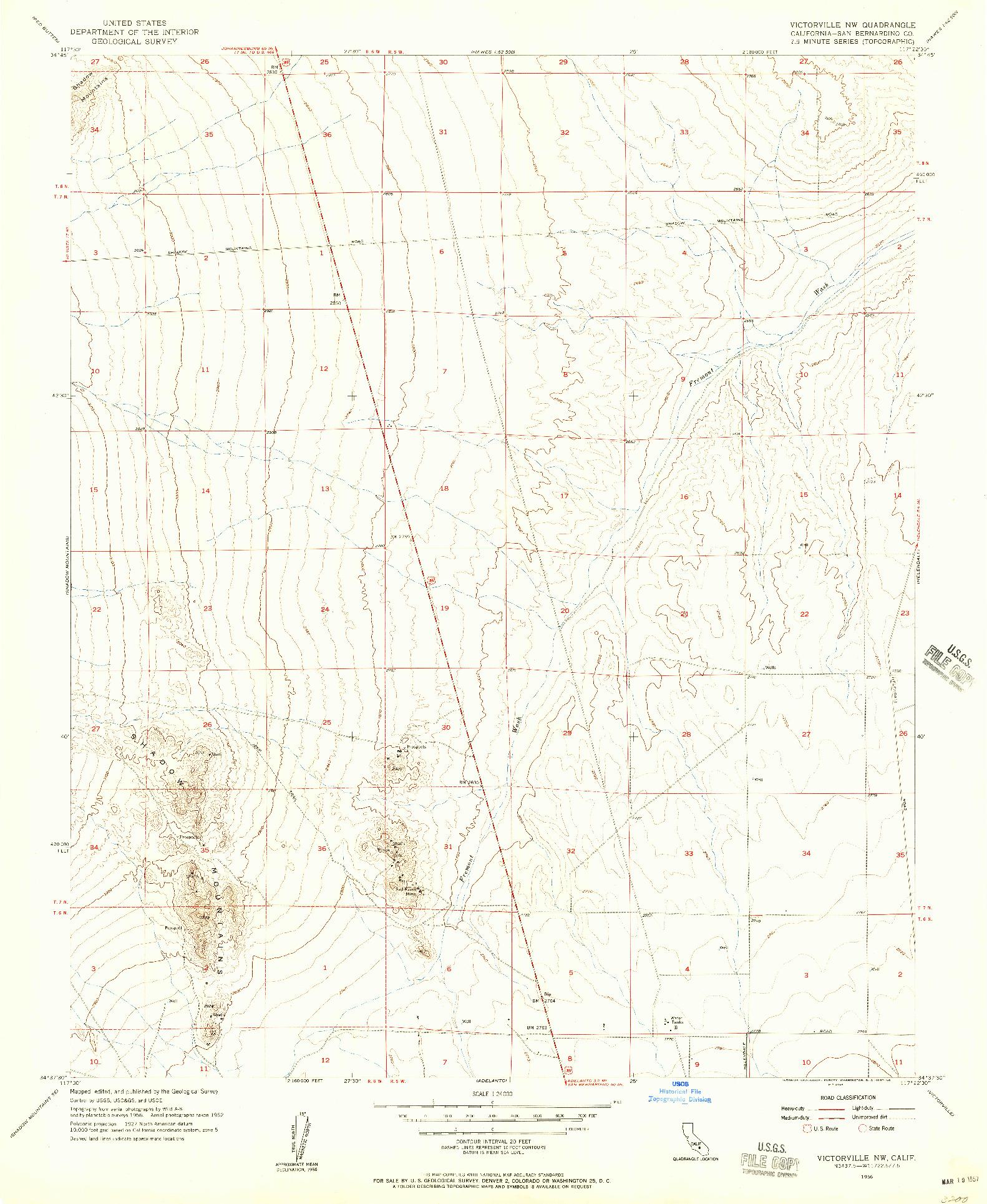 USGS 1:24000-SCALE QUADRANGLE FOR VICTORVILLE NW, CA 1956