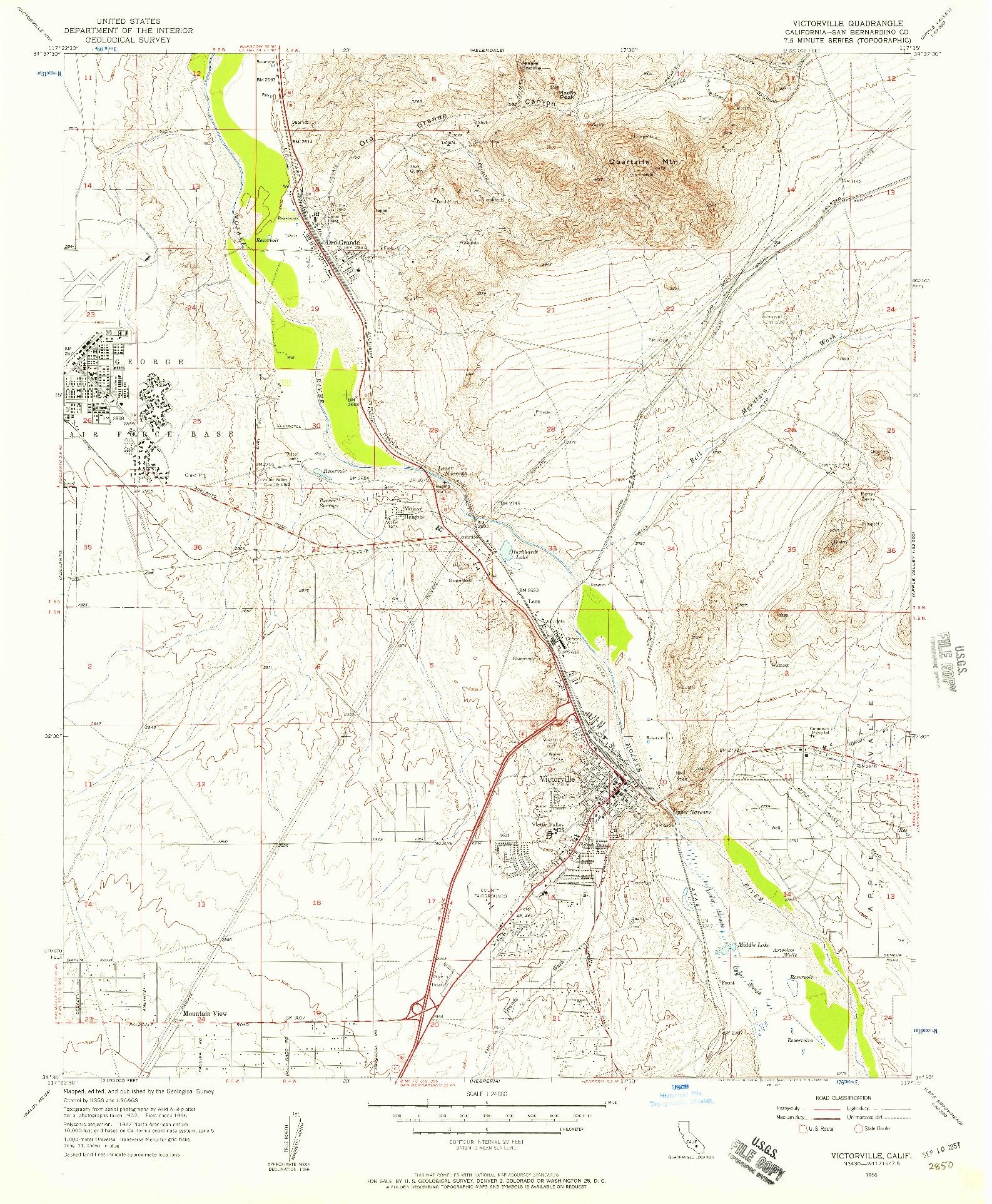 USGS 1:24000-SCALE QUADRANGLE FOR VICTORVILLE, CA 1956
