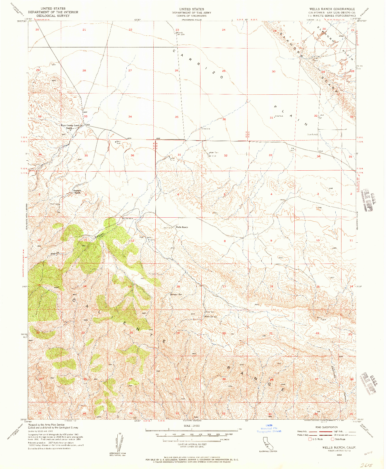 USGS 1:24000-SCALE QUADRANGLE FOR WELLS RANCH, CA 1954